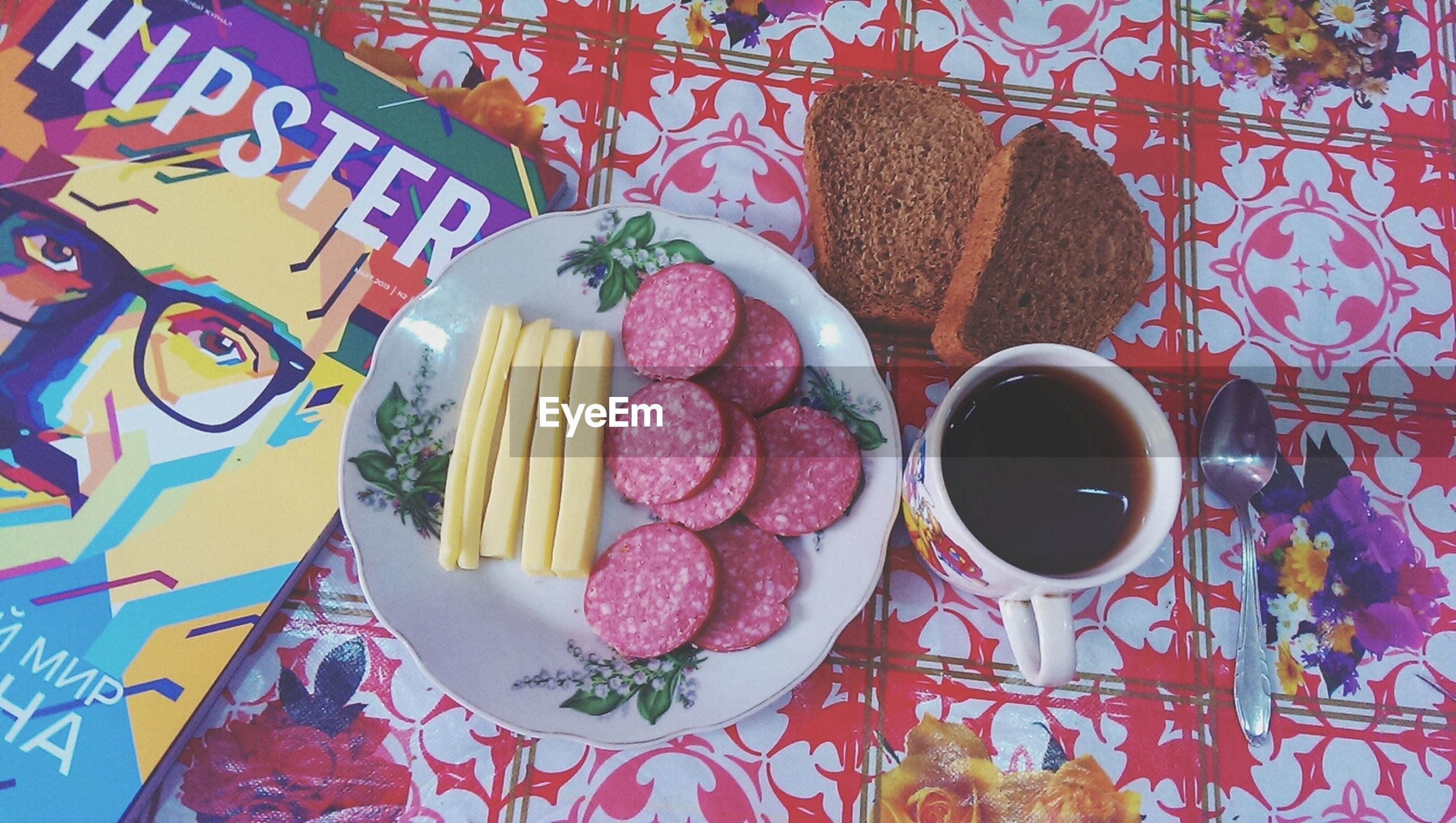 food and drink, indoors, freshness, food, ready-to-eat, still life, table, sweet food, plate, drink, coffee cup, dessert, indulgence, high angle view, refreshment, breakfast, unhealthy eating, serving size, coffee - drink, directly above