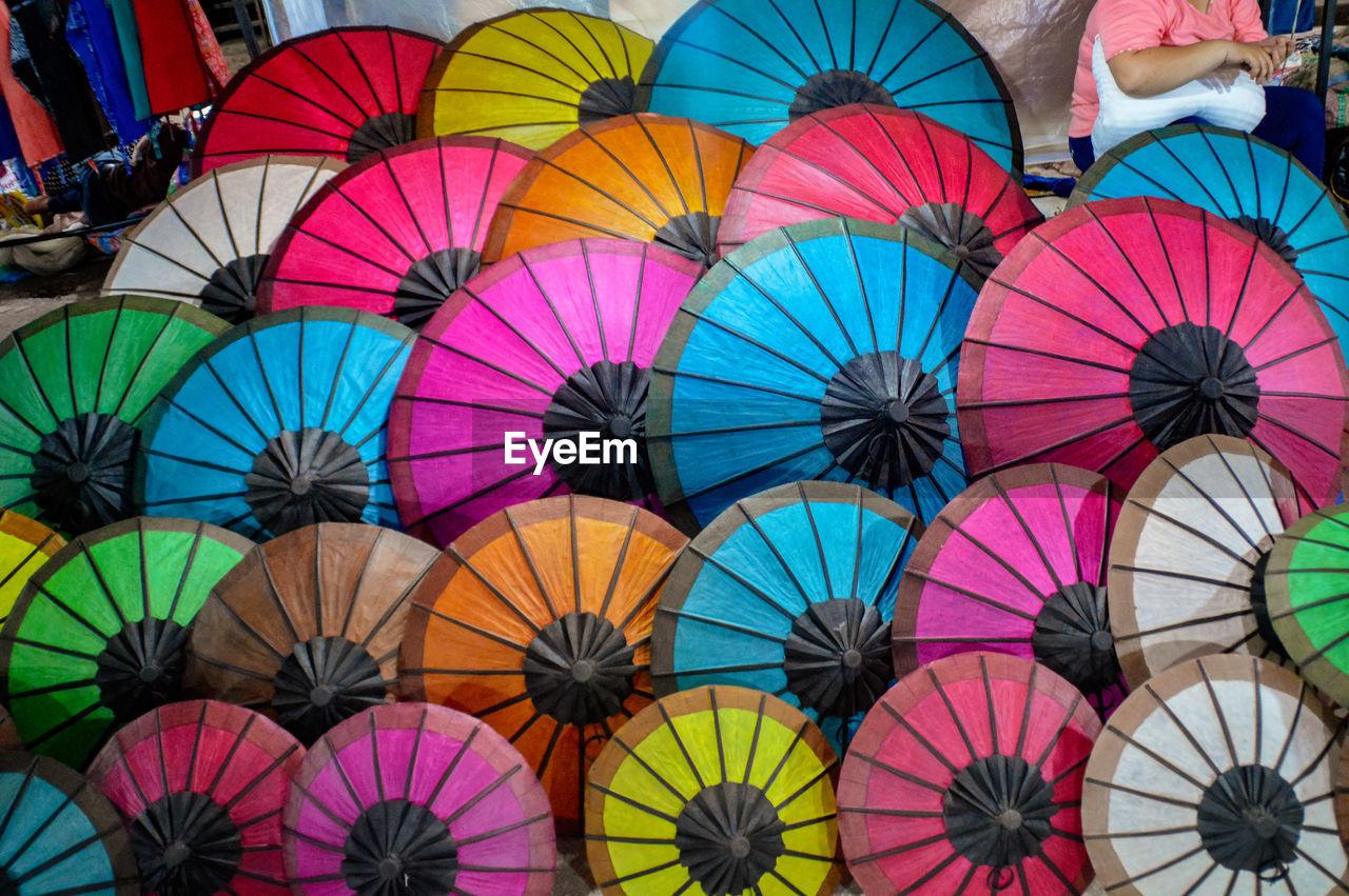 Full frame shot of colorful umbrellas for sale in market