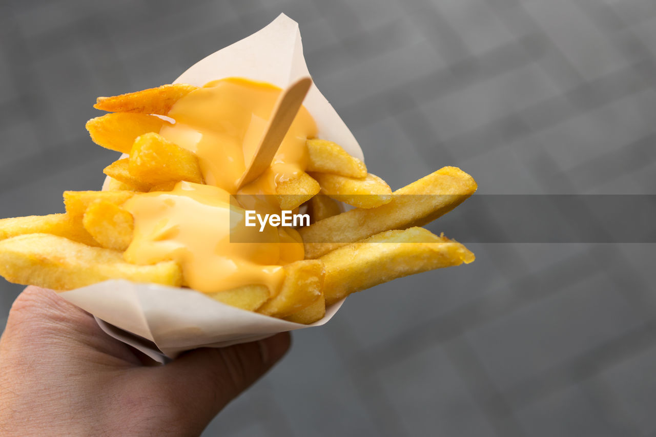 Cropped Hand Holding French Fries