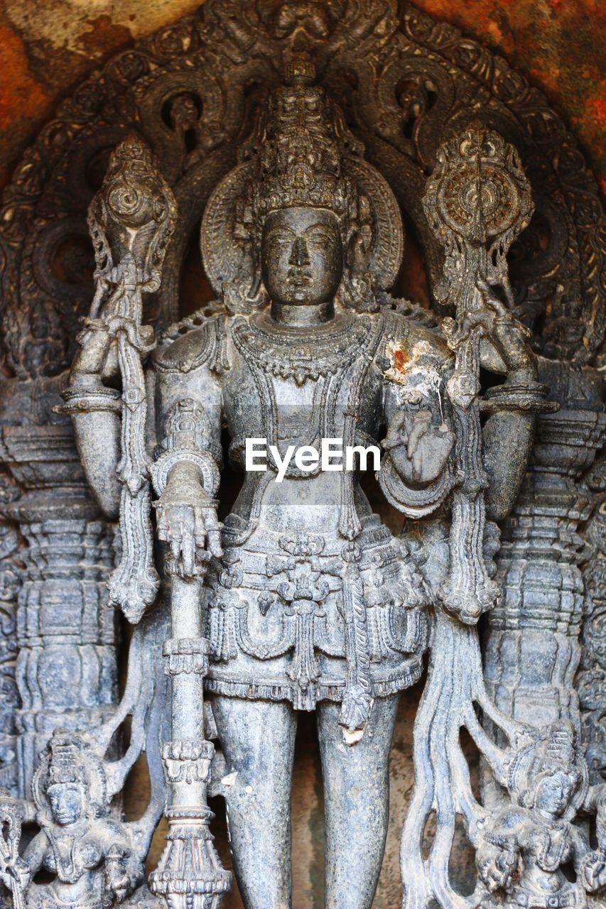 View of sculpture of hindu god