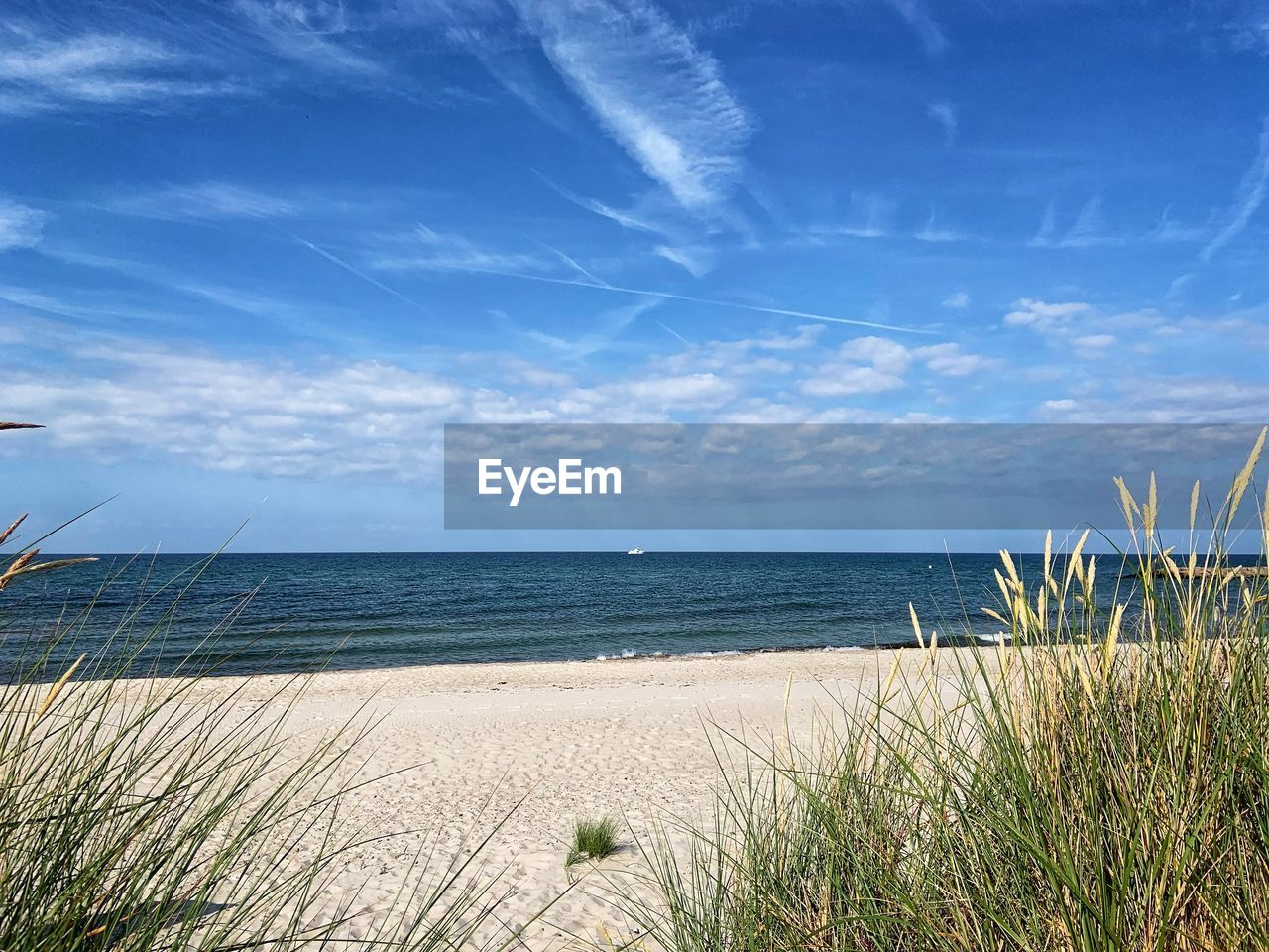 sea, water, sky, horizon over water, beach, beauty in nature, horizon, grass, scenics - nature, tranquility, cloud - sky, land, nature, plant, tranquil scene, sand, marram grass, no people, day, outdoors