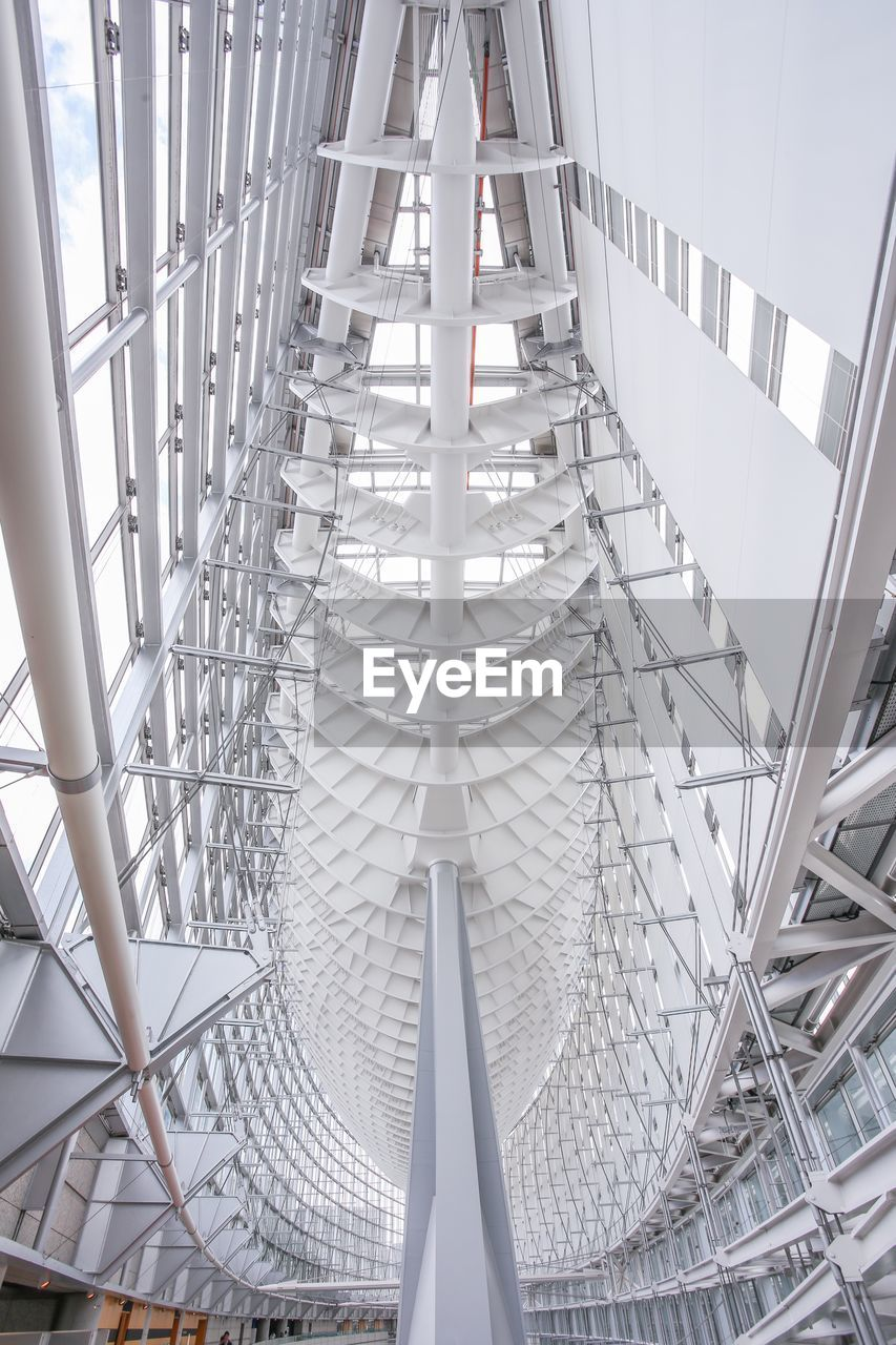 architecture, built structure, day, pattern, railing, metal, staircase, no people, modern, building, indoors, low angle view, white color, steps and staircases, architectural feature, nature, connection, convenience, ceiling, directly below, digital composite