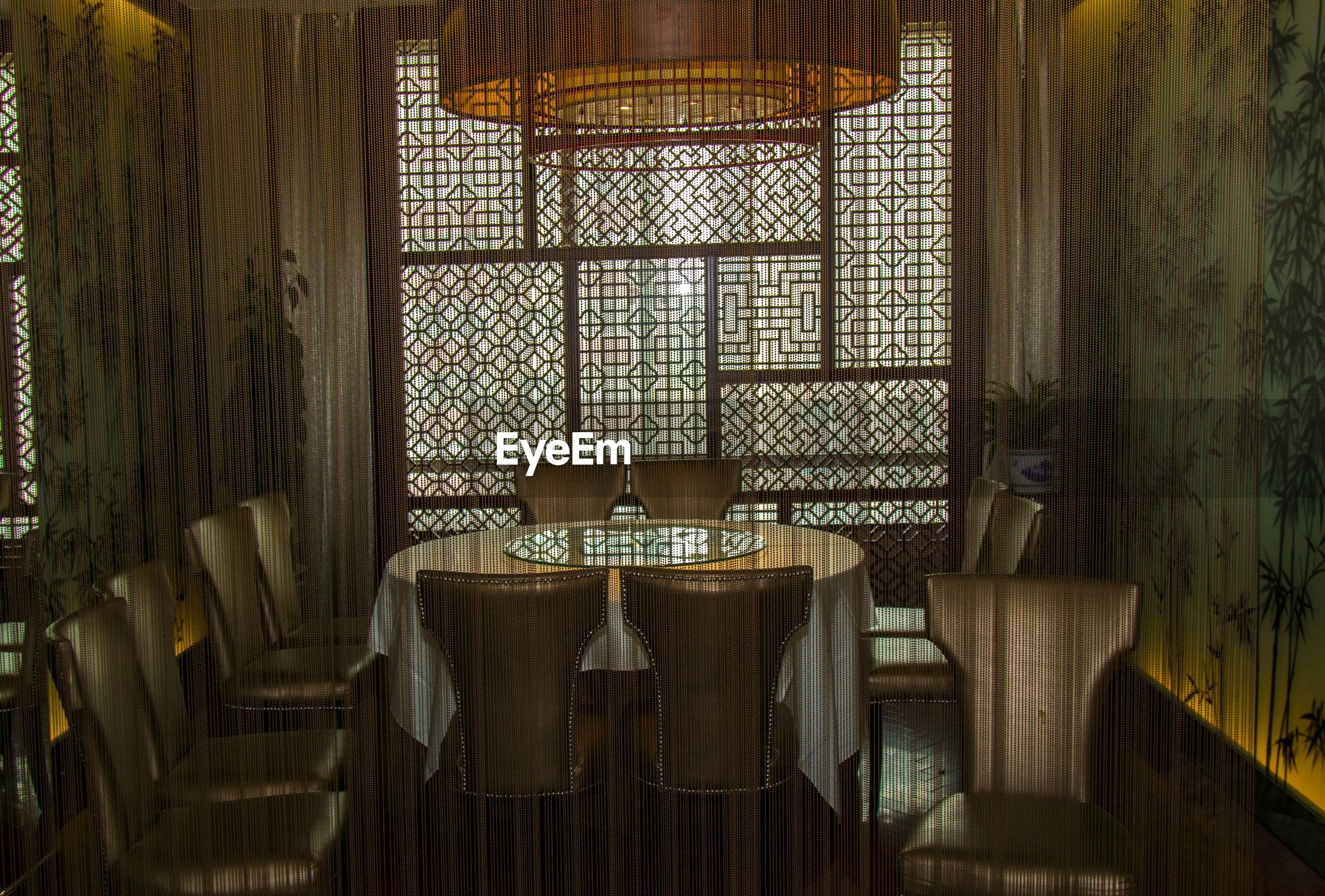 Empty table and chair in yi he spring restaurant