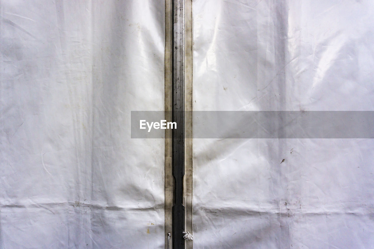 full frame, backgrounds, no people, close-up, indoors, pattern, white color, day, textured, textile, window, nature, abstract, security, sheet, built structure, plastic, curtain, wall - building feature, silver colored