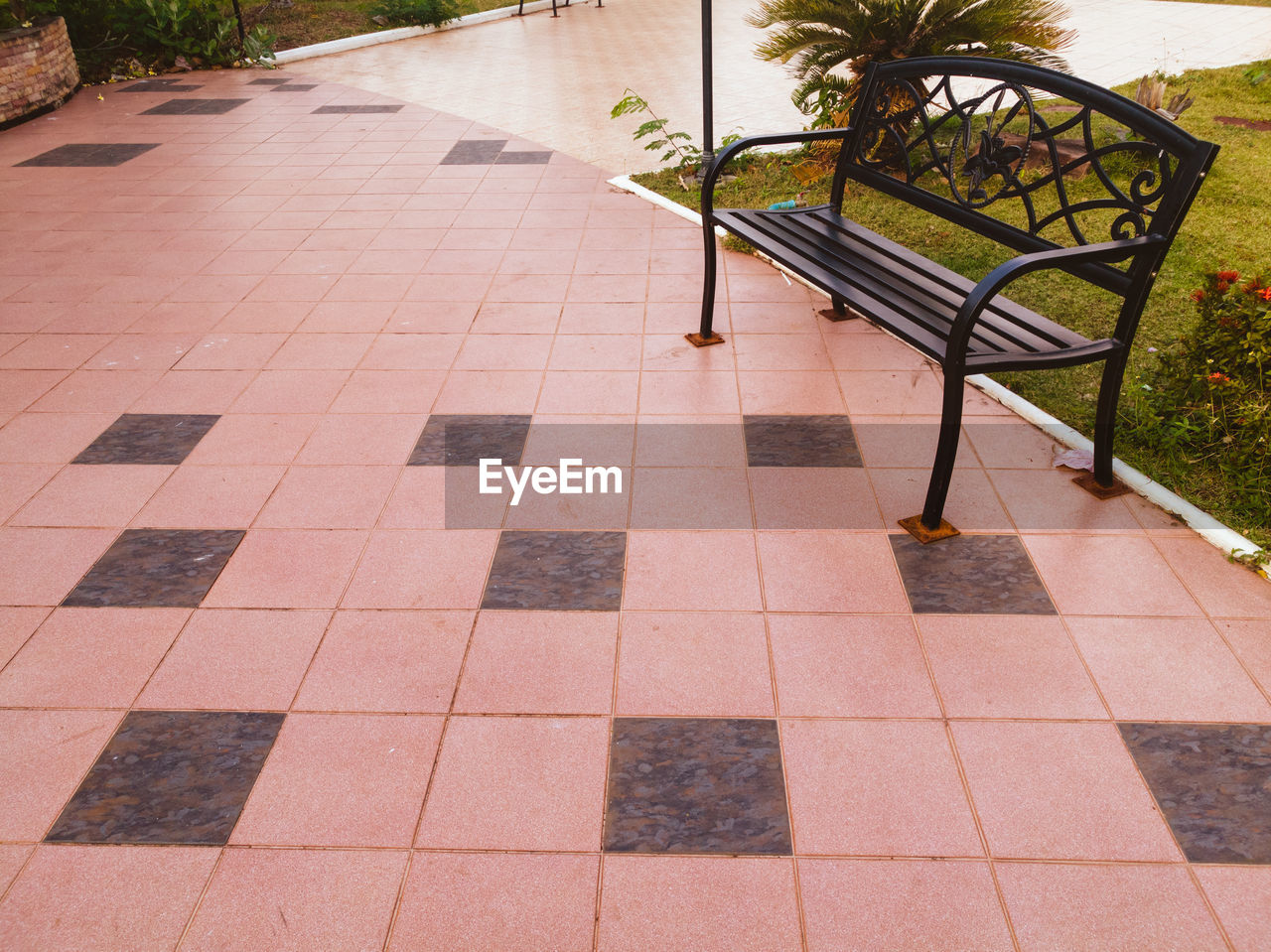 tiled floor, outdoors, nature, no people, chair, day, plant, relaxation, tree, swimming pool, water