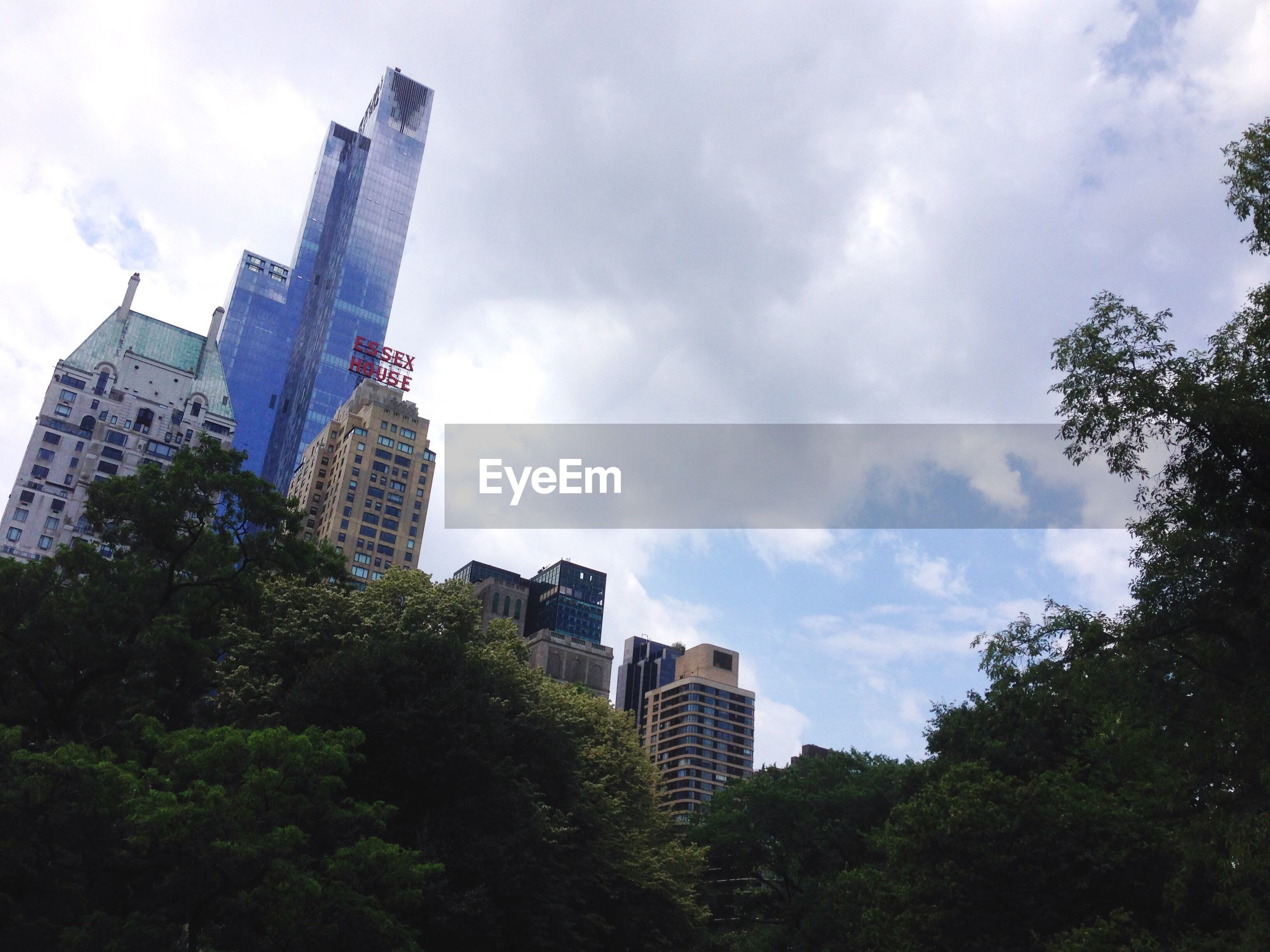Low angle view of buildings and trees against cloudy sky at central park