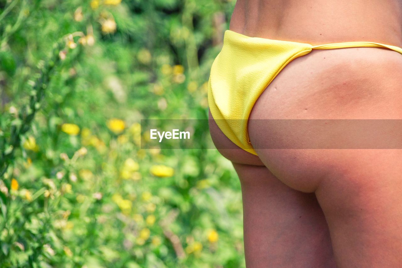 Midsection of woman wearing panties against plants