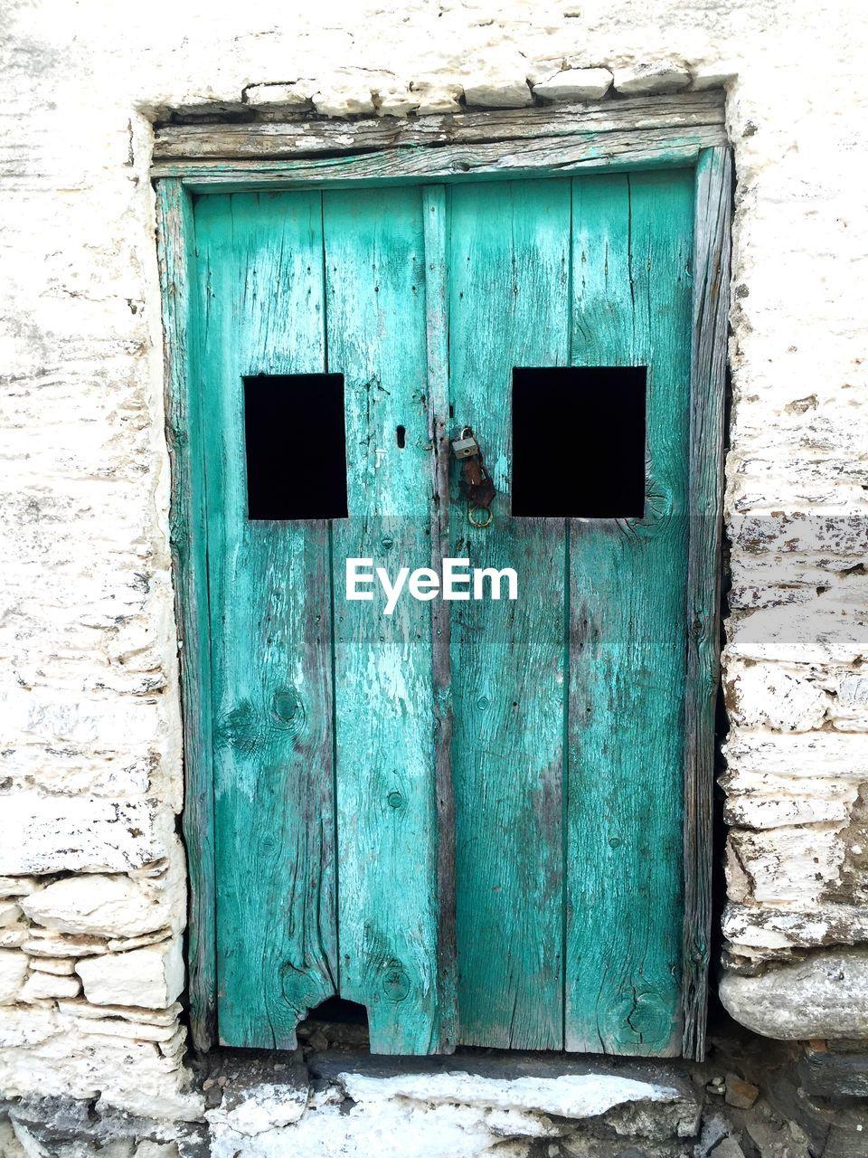 door, architecture, built structure, no people, weathered, building exterior, day, outdoors, blue, doorway, open door, close-up