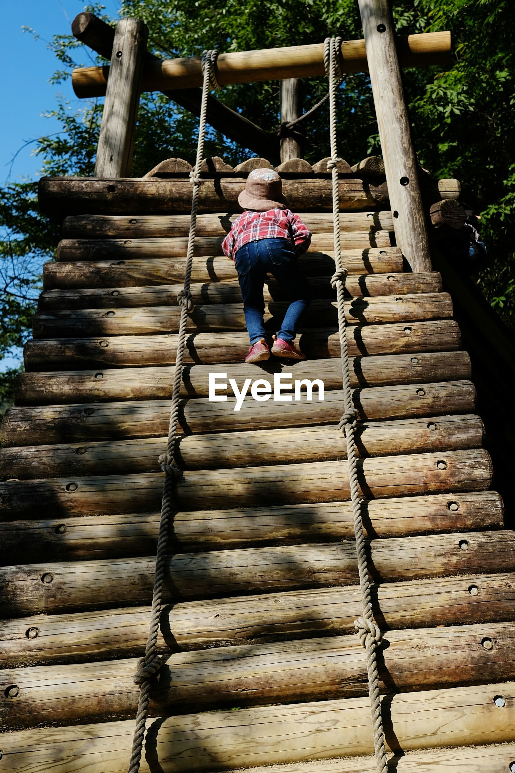 childhood, climbing, playground, full length, real people, rope, steps, girls, casual clothing, one person, day, swing, outdoors, leisure activity, elementary age, wood - material, jungle gym, outdoor play equipment, low angle view, playing, lifestyles, built structure, clambering, tree, rope swing, people