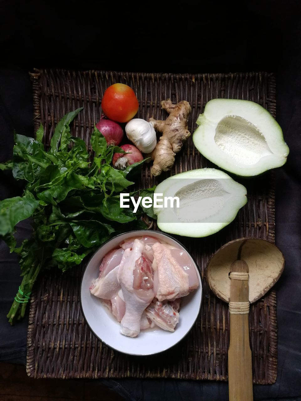 food and drink, freshness, food, indoors, healthy eating, vegetable, no people, high angle view, raw food, table, meat, cutting board, seafood, slice, close-up, ready-to-eat, day