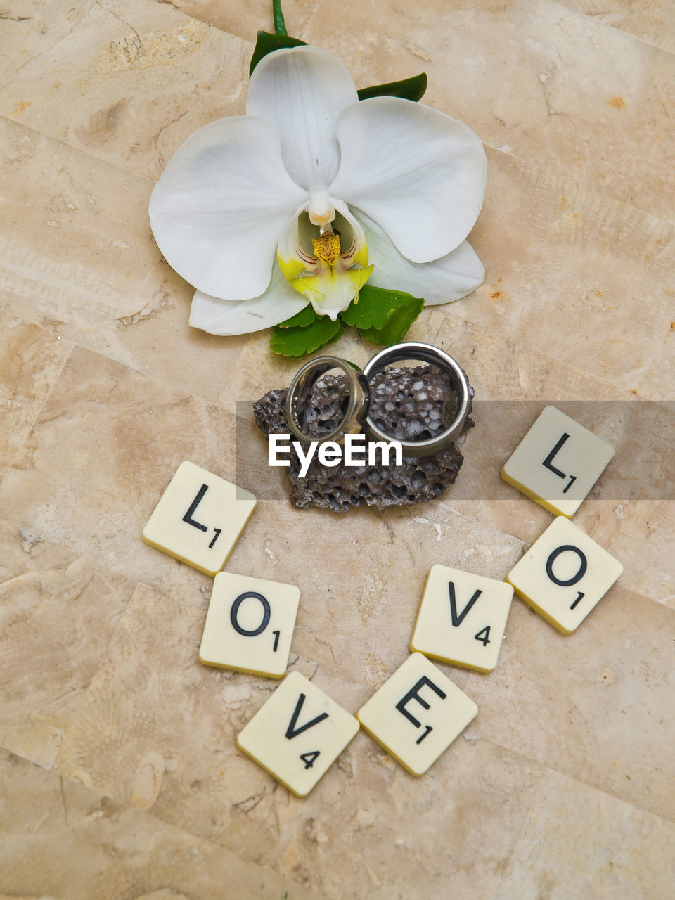 High Angle View Of Wedding Rings By Flower And Alphabets On Toy Blocks