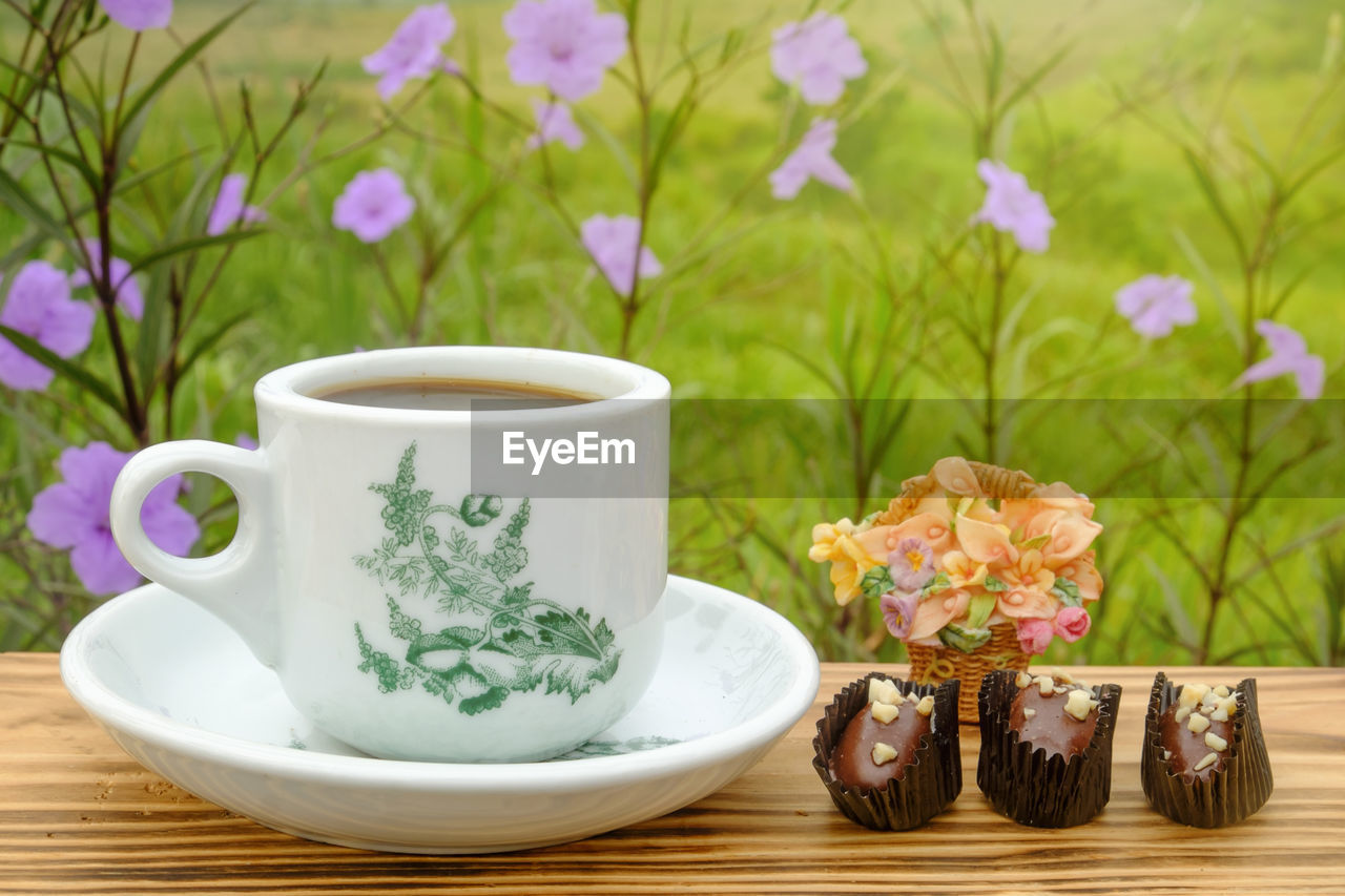 food and drink, mug, cup, plant, drink, freshness, refreshment, saucer, still life, tea, table, flowering plant, nature, flower, hot drink, close-up, coffee cup, no people, tea - hot drink, focus on foreground, crockery, tea cup, floral pattern, purple
