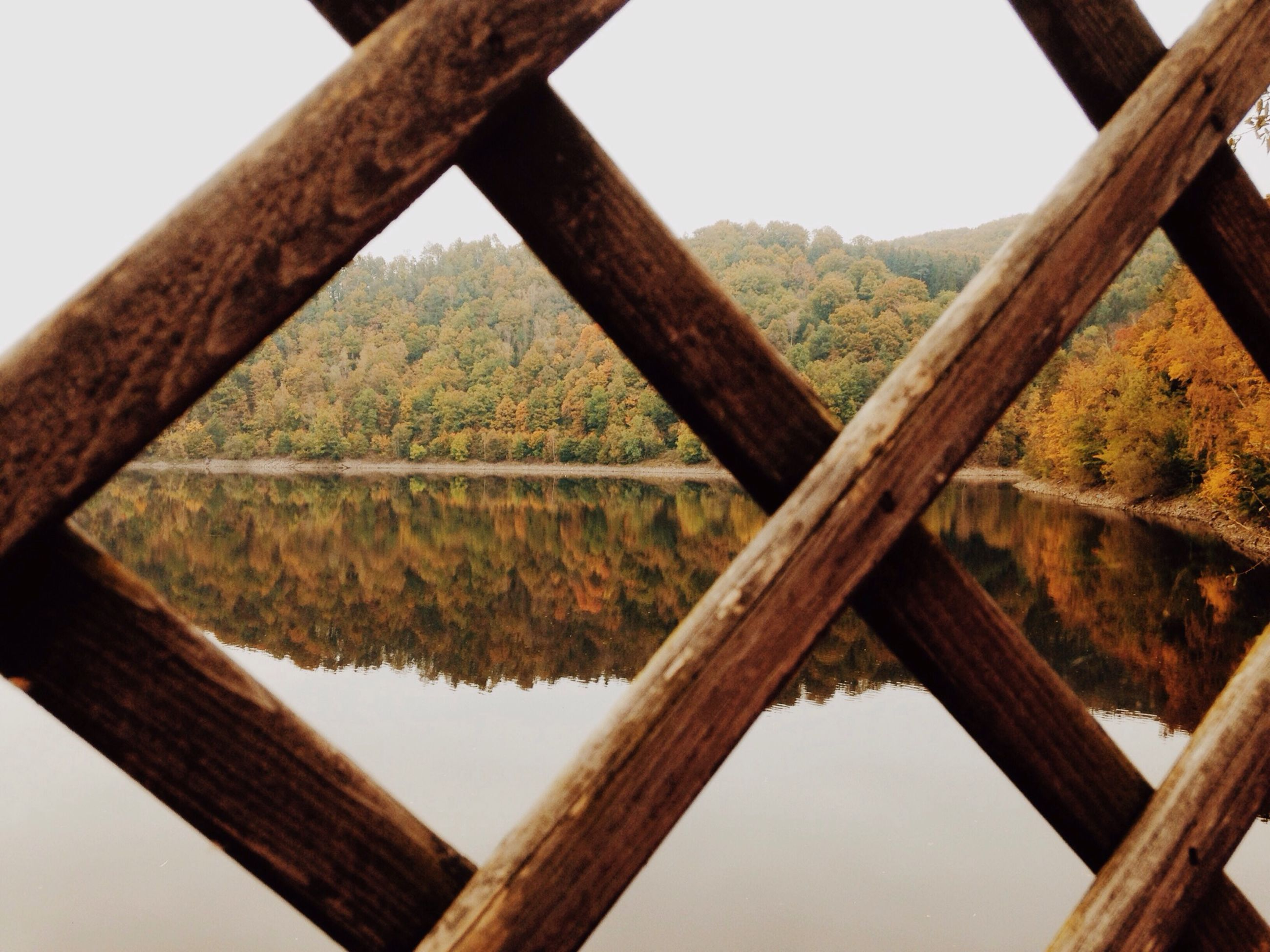 Scenic view of lake seen through fence