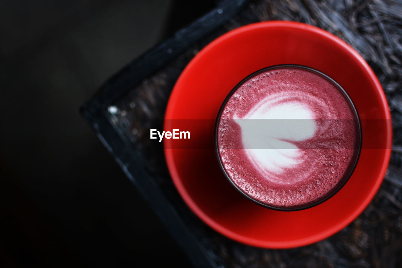 Directly Above View Of Red Coffee