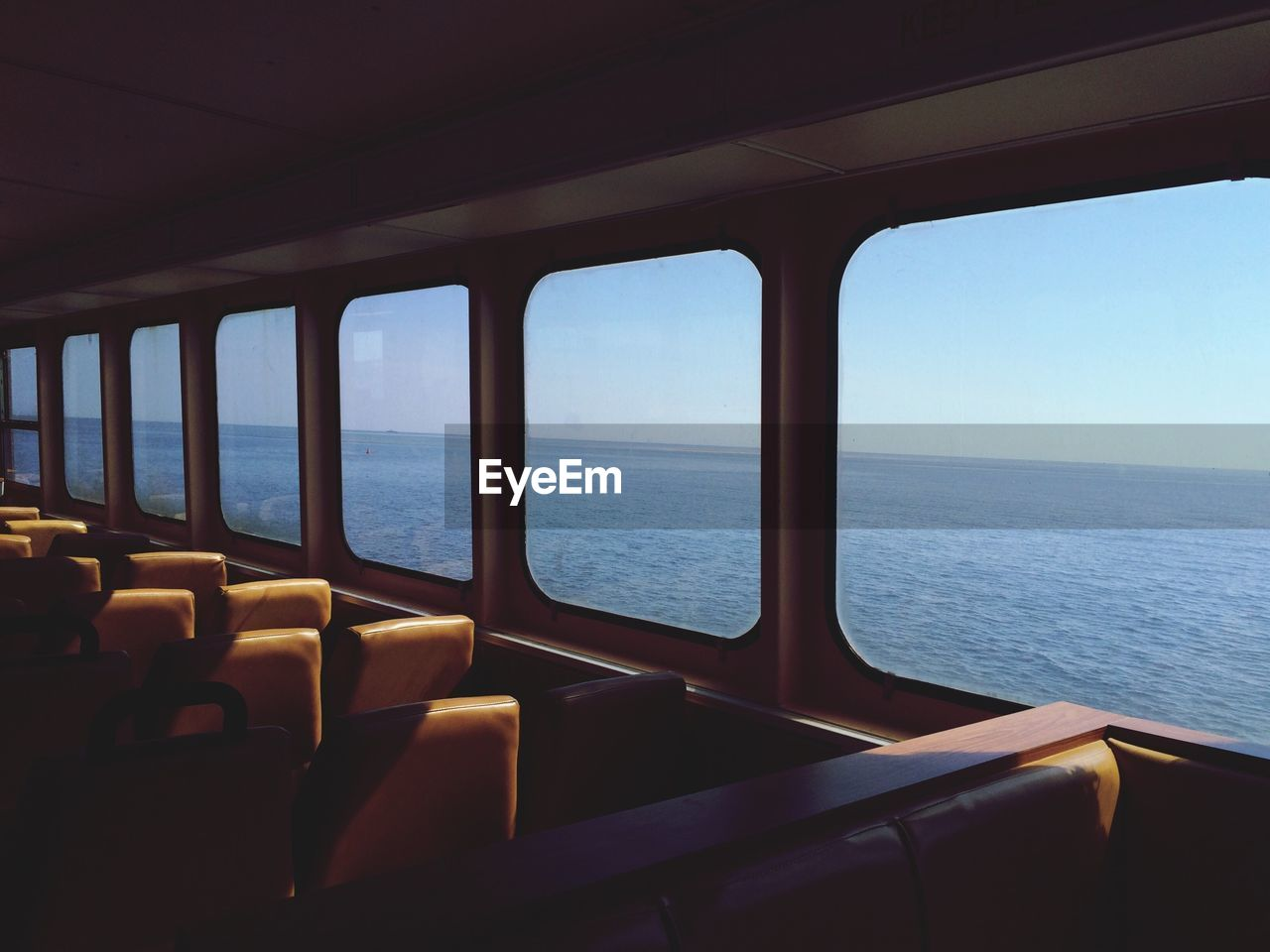 Scenic View Of Sea Seen From Ferry Windows