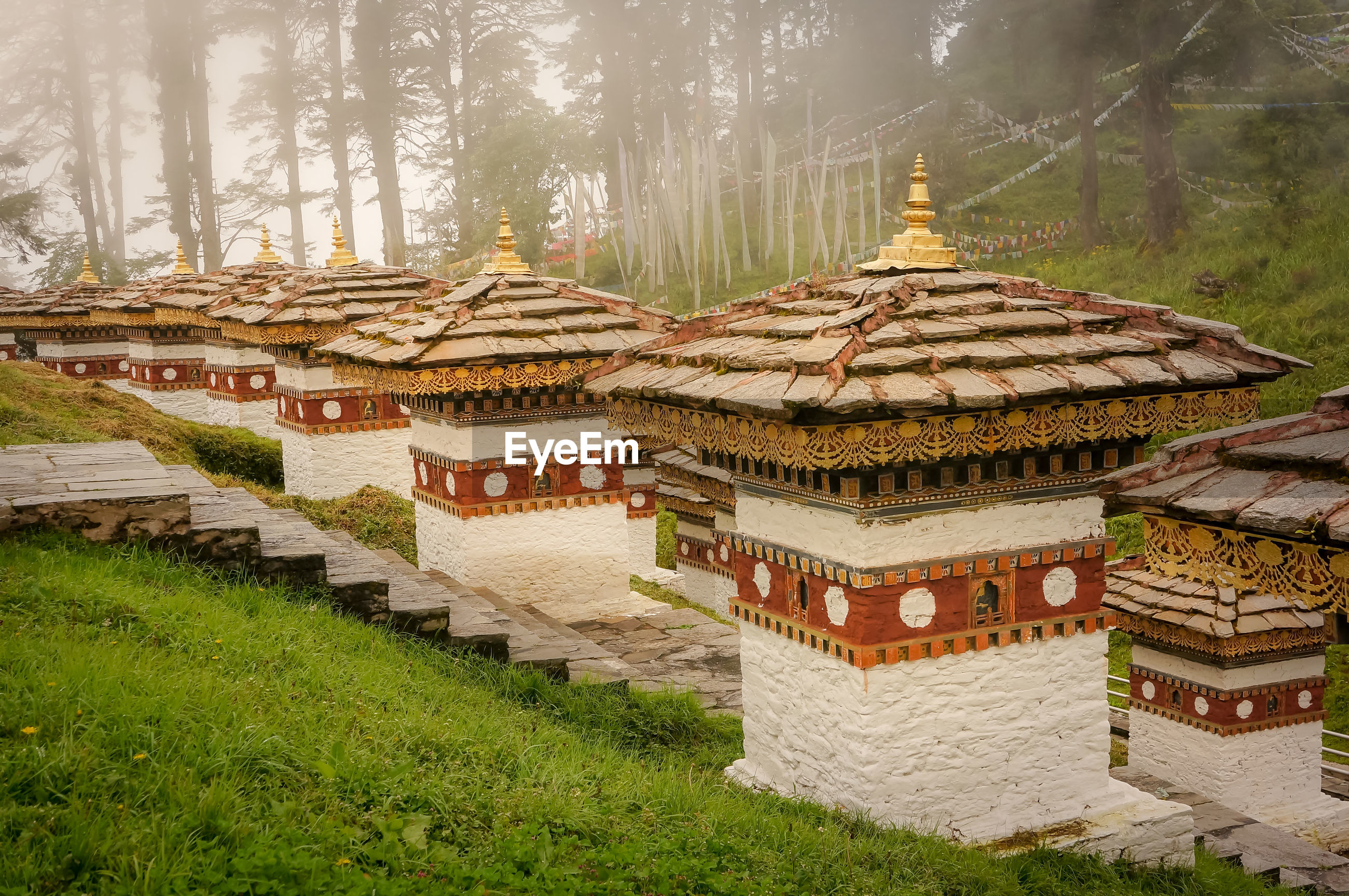 High angle view of traditional temples on field