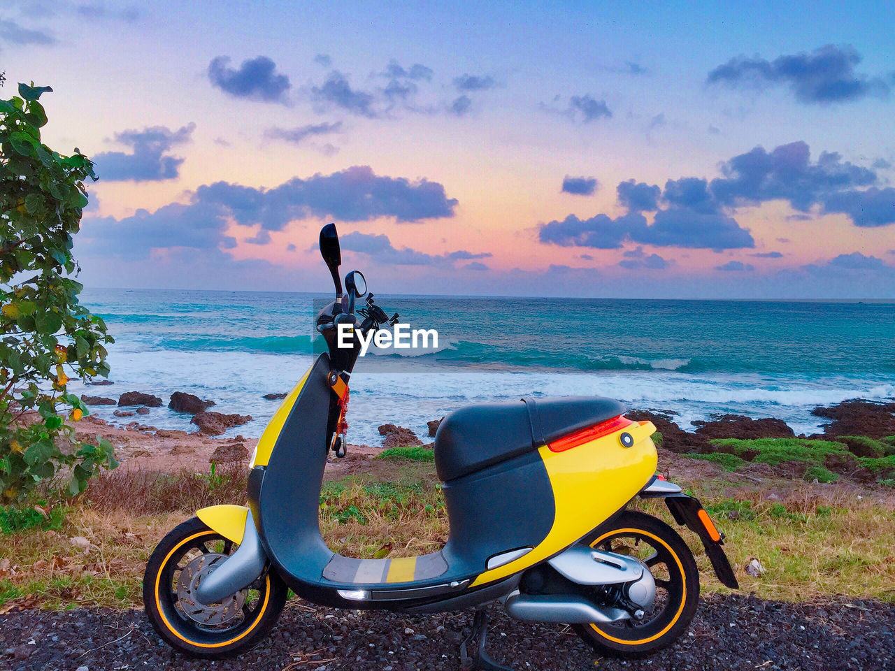 water, sky, sea, transportation, cloud - sky, beauty in nature, land, mode of transportation, horizon, beach, horizon over water, nature, scenics - nature, stationary, land vehicle, outdoors, scooter, no people, day