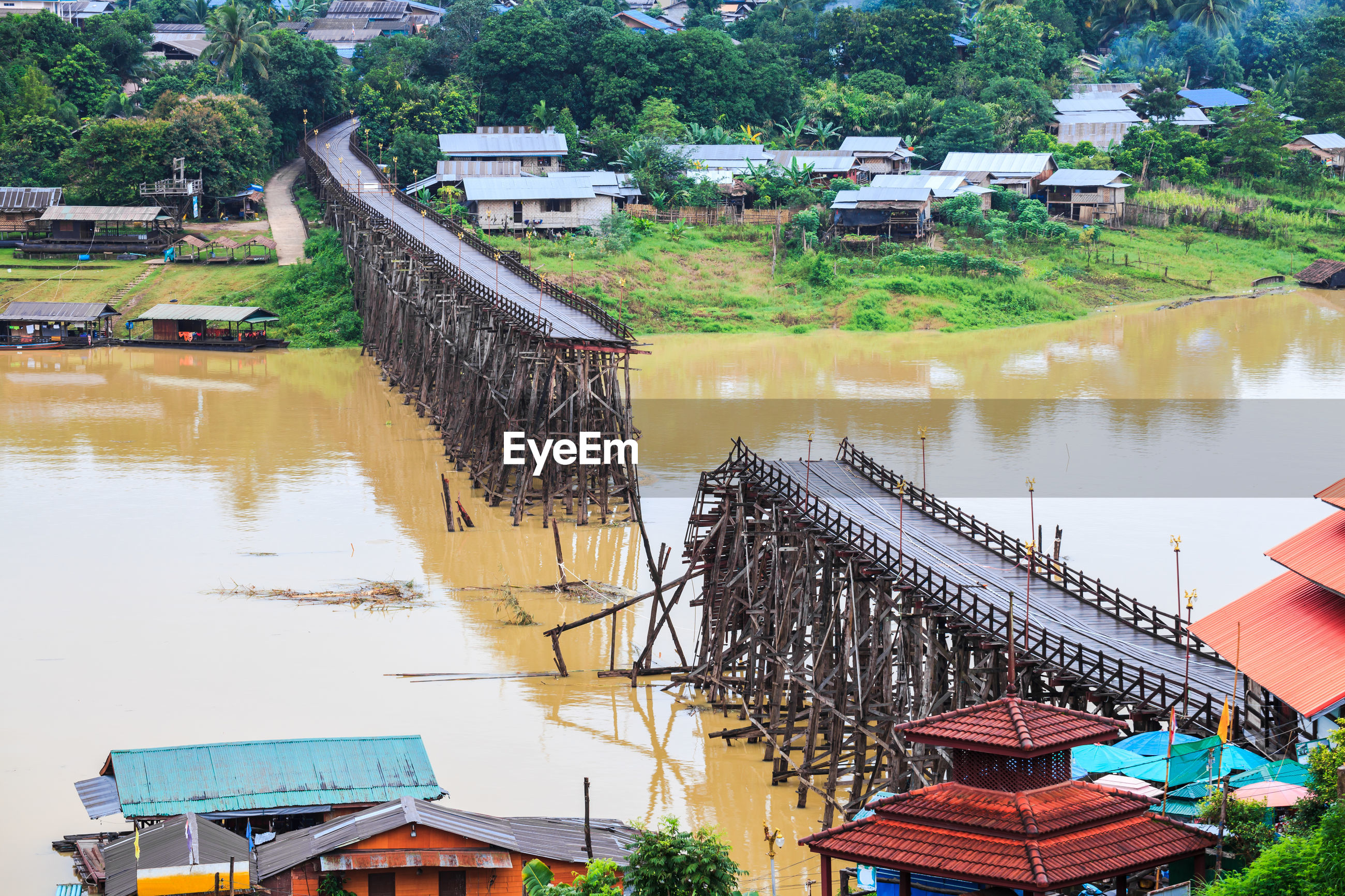 High angle view of broken bridge over river