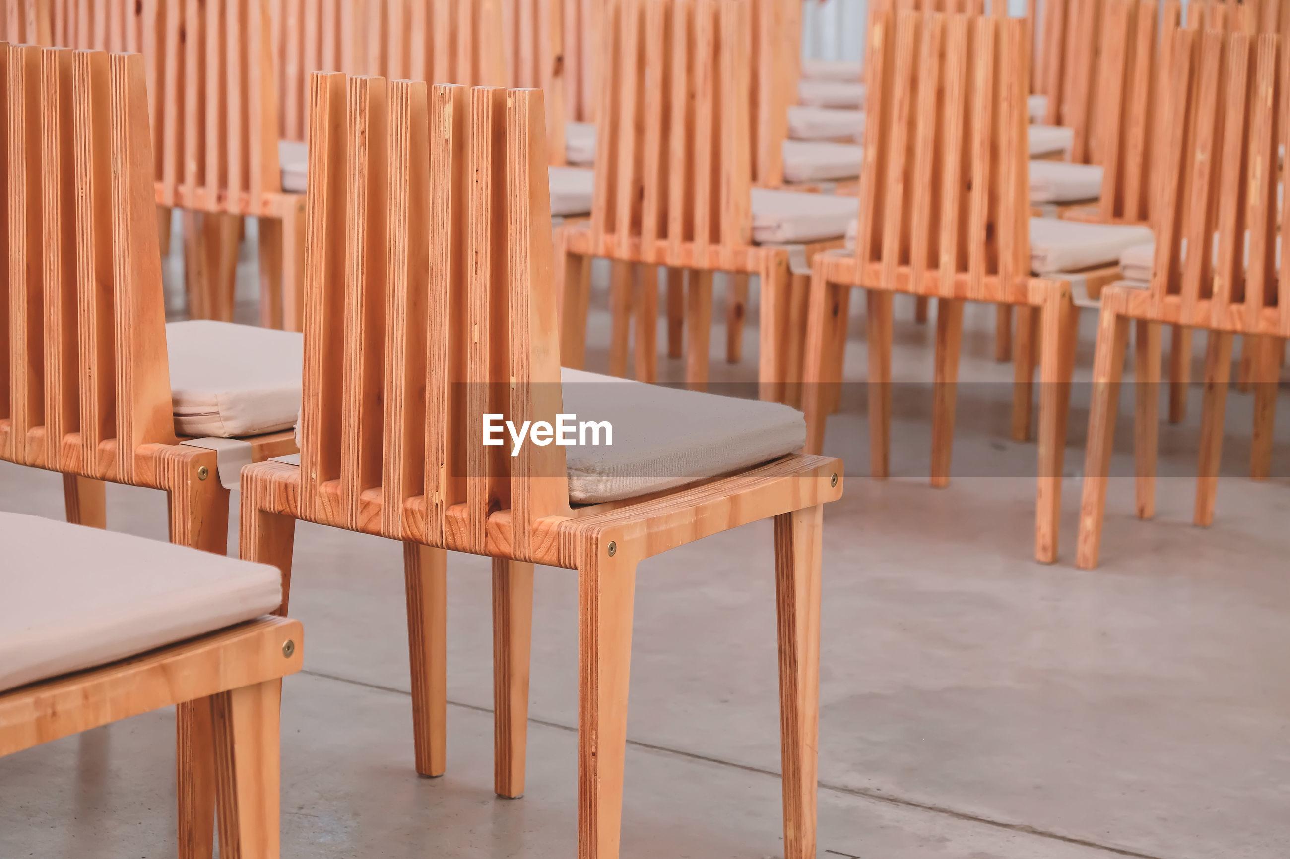 Empty chairs on floor