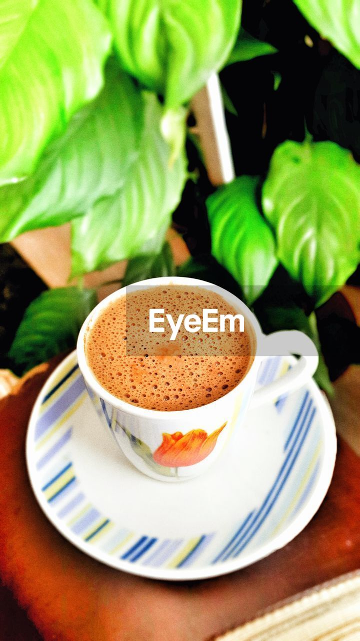 cup, mug, coffee, drink, refreshment, food and drink, coffee cup, coffee - drink, saucer, crockery, table, close-up, plant part, leaf, still life, freshness, spoon, no people, indoors, eating utensil, frothy drink, hot drink, non-alcoholic beverage, froth, caffeine