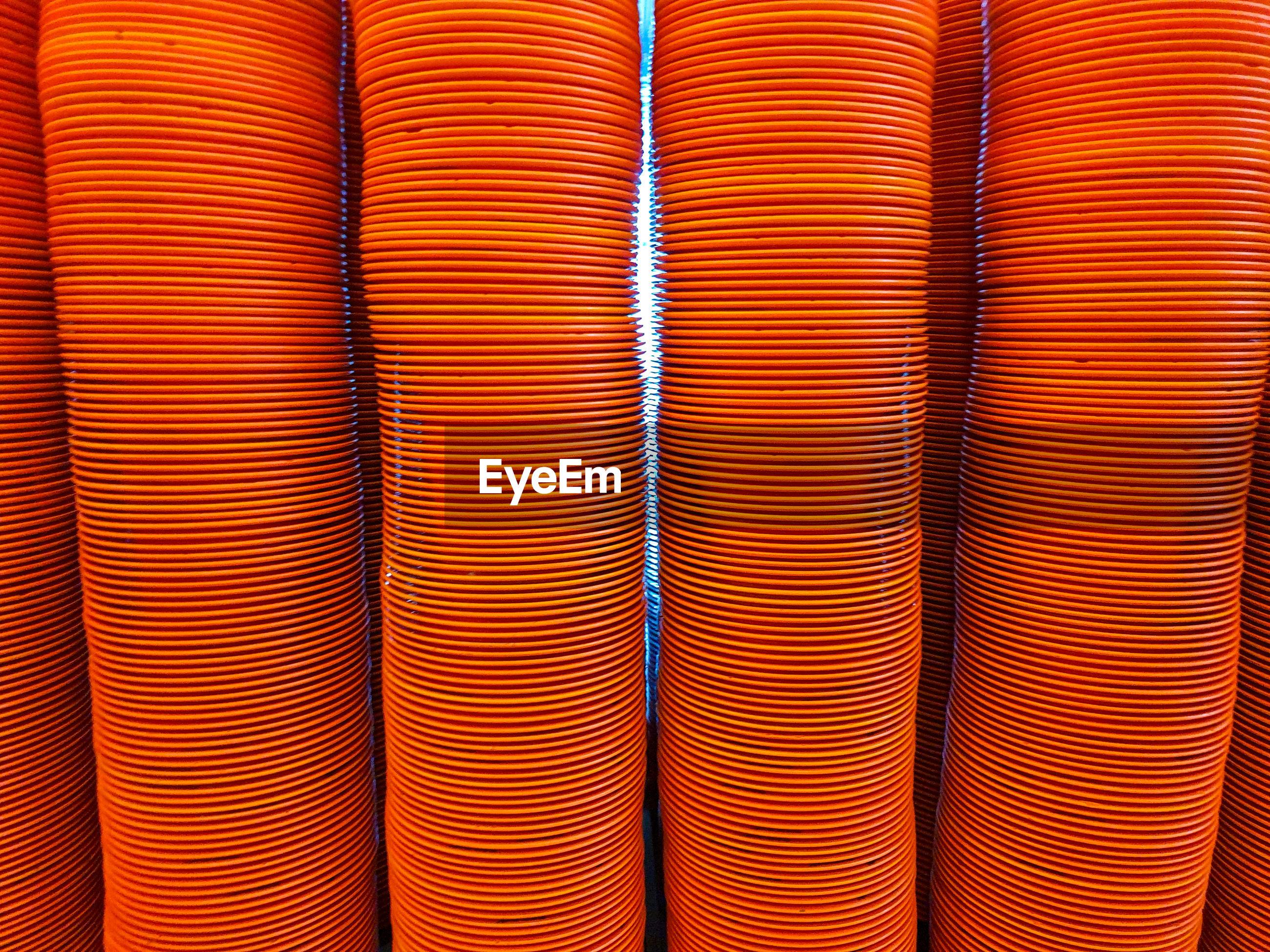Full frame shot of stacked plates