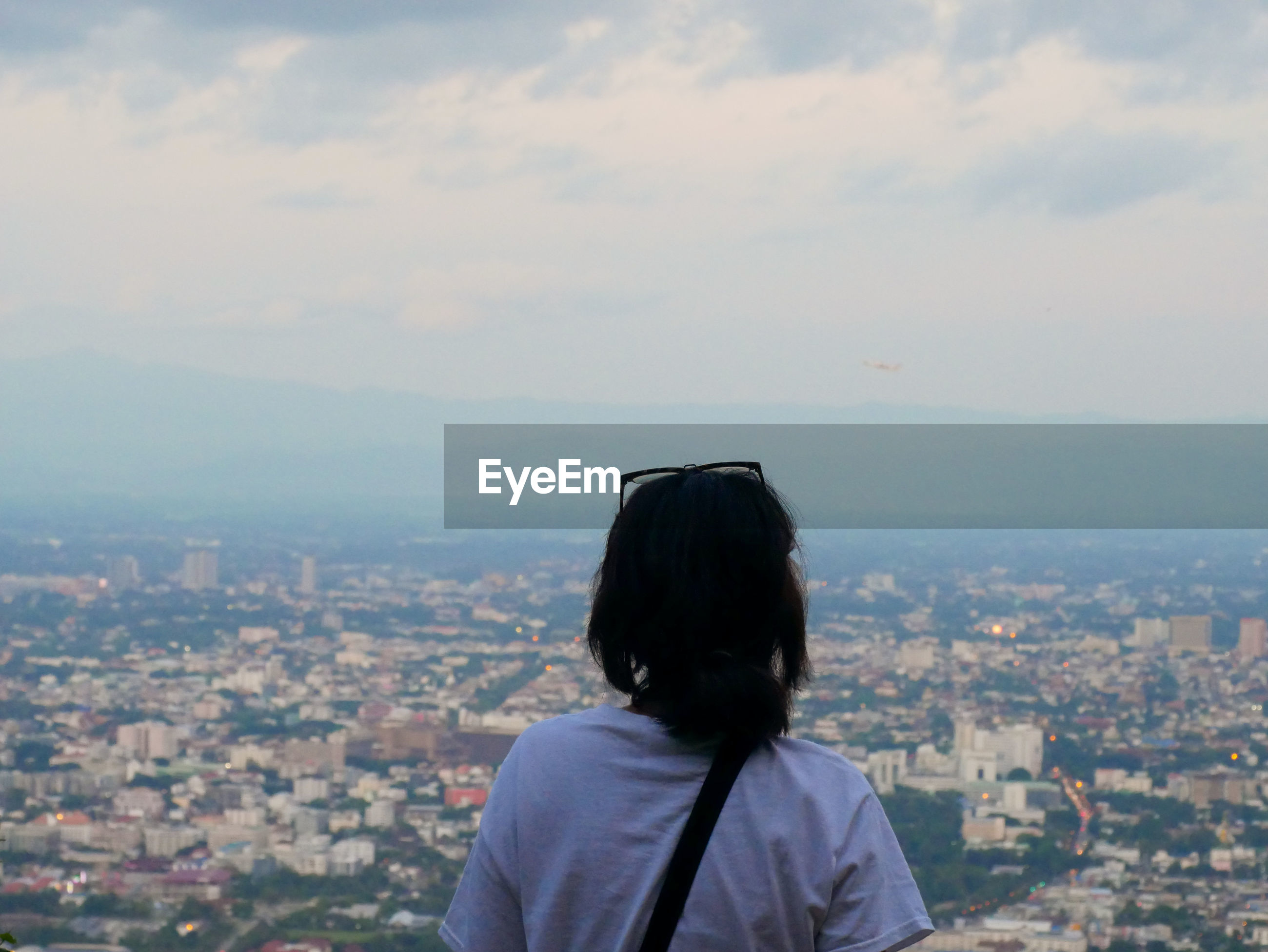 Rear view of woman looking at city against sky