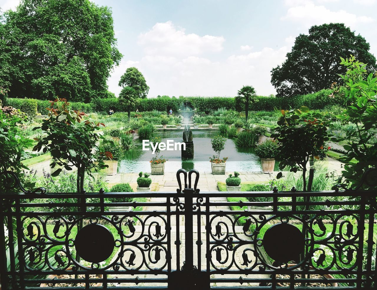 water, plant, tree, nature, day, sky, reflection, architecture, no people, growth, lake, green color, built structure, formal garden, outdoors, cloud - sky, garden, railing, beauty in nature, ornamental garden, ornate