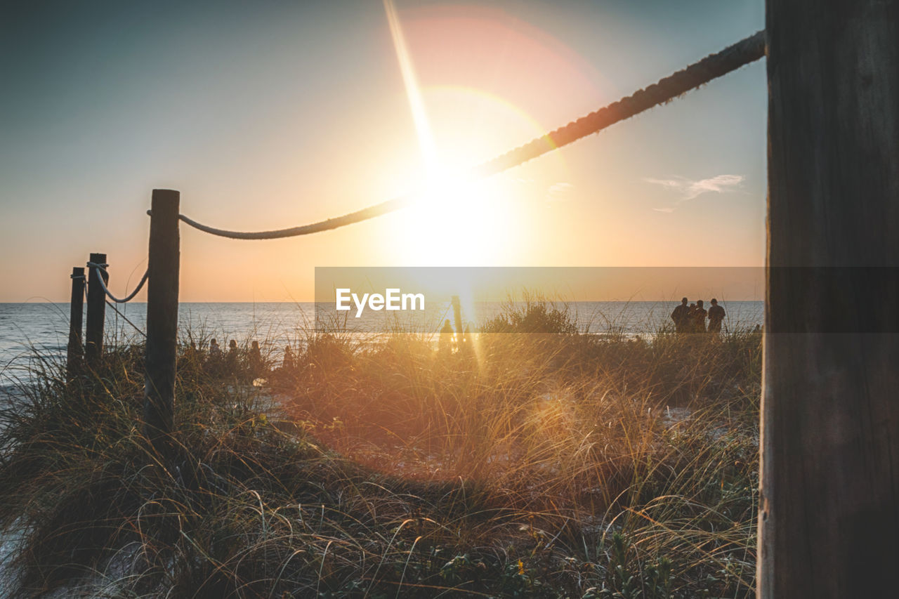 sky, sun, sunset, water, sunlight, beauty in nature, plant, nature, tranquility, land, tranquil scene, grass, scenics - nature, lens flare, sea, beach, non-urban scene, sunbeam, no people, outdoors, wooden post, post, bright