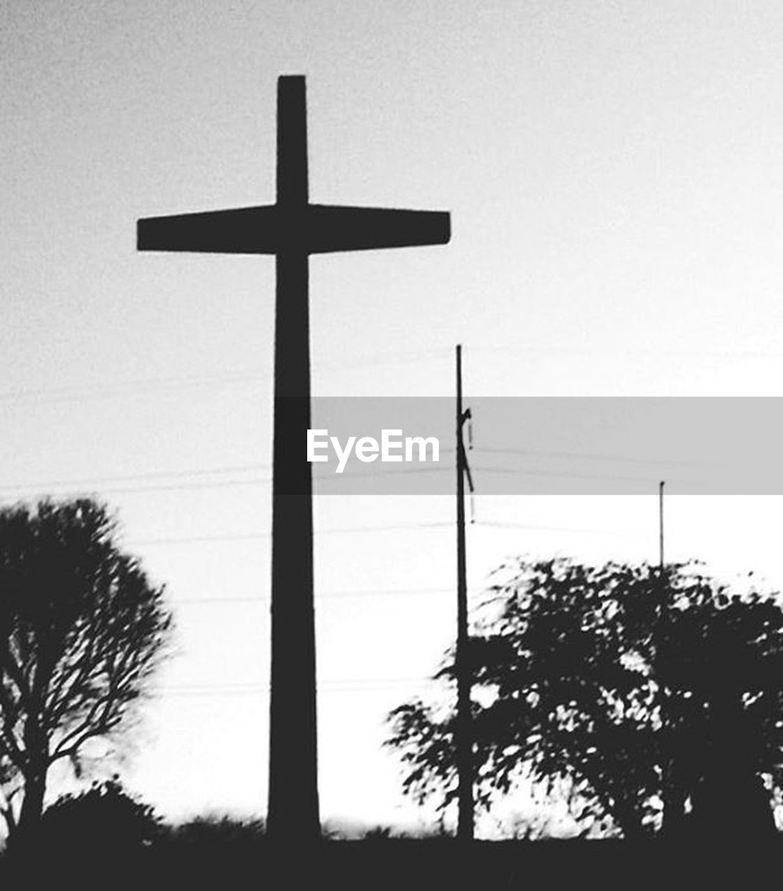 cross, tree, crucifix, religion, silhouette, sky, low angle view, spirituality, no people, tranquility, day, outdoors, nature