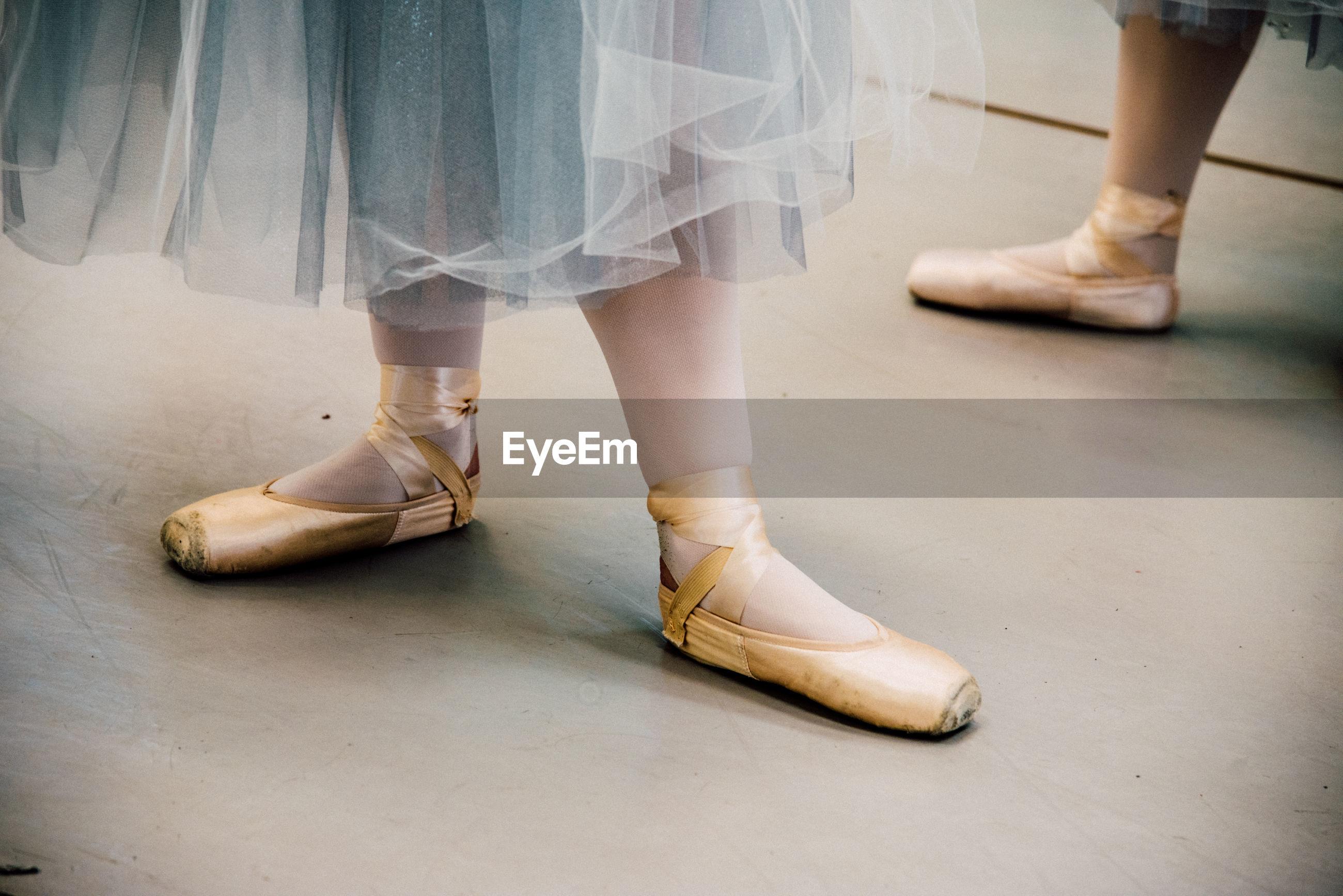 Low section of ballet dancers on floor