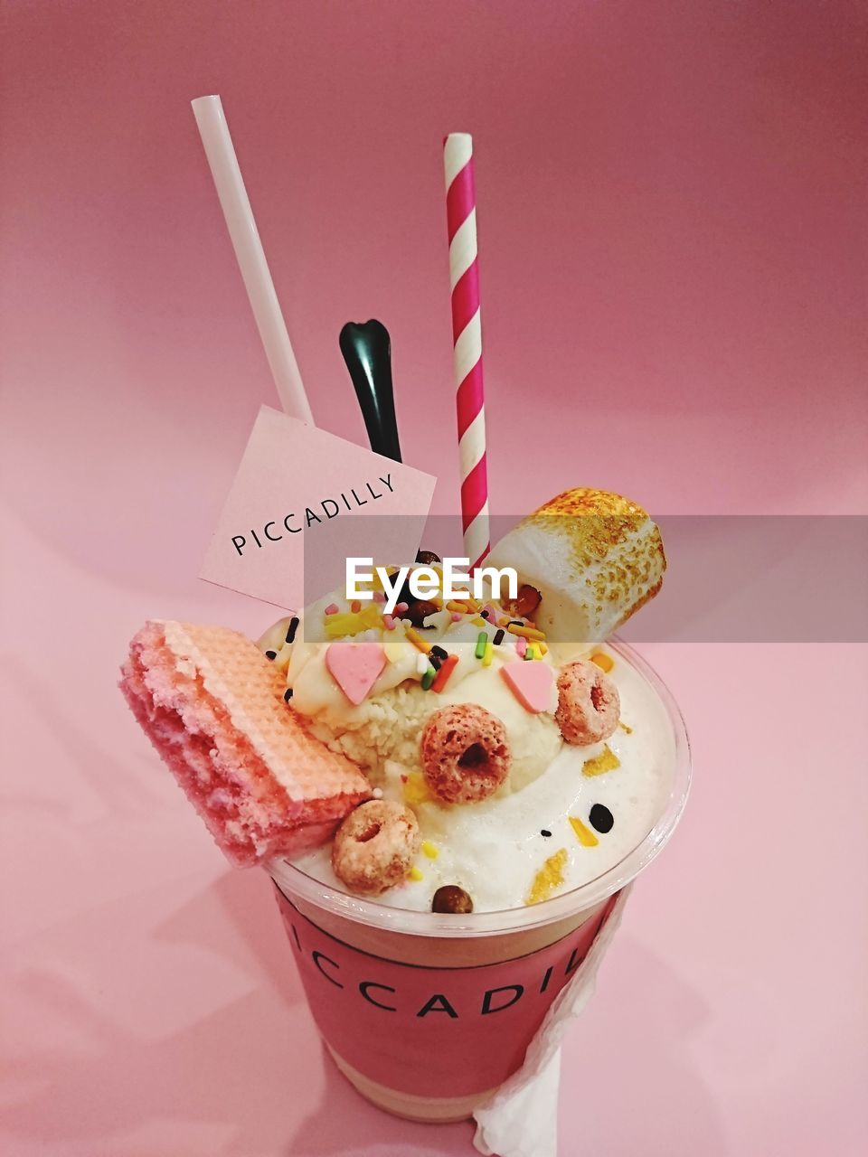 CLOSE-UP OF ICE CREAM WITH PINK