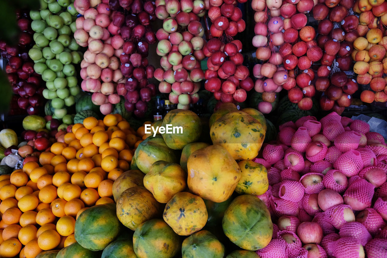 food and drink, healthy eating, food, freshness, wellbeing, large group of objects, abundance, market, choice, fruit, variation, market stall, retail, for sale, vegetable, no people, high angle view, still life, backgrounds, day, sale