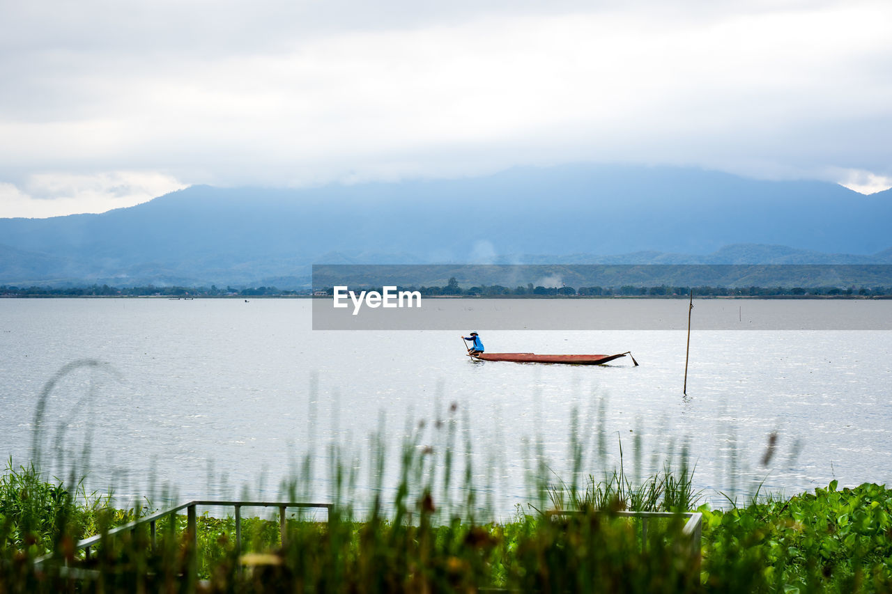 PERSON ON LAKE AGAINST SKY
