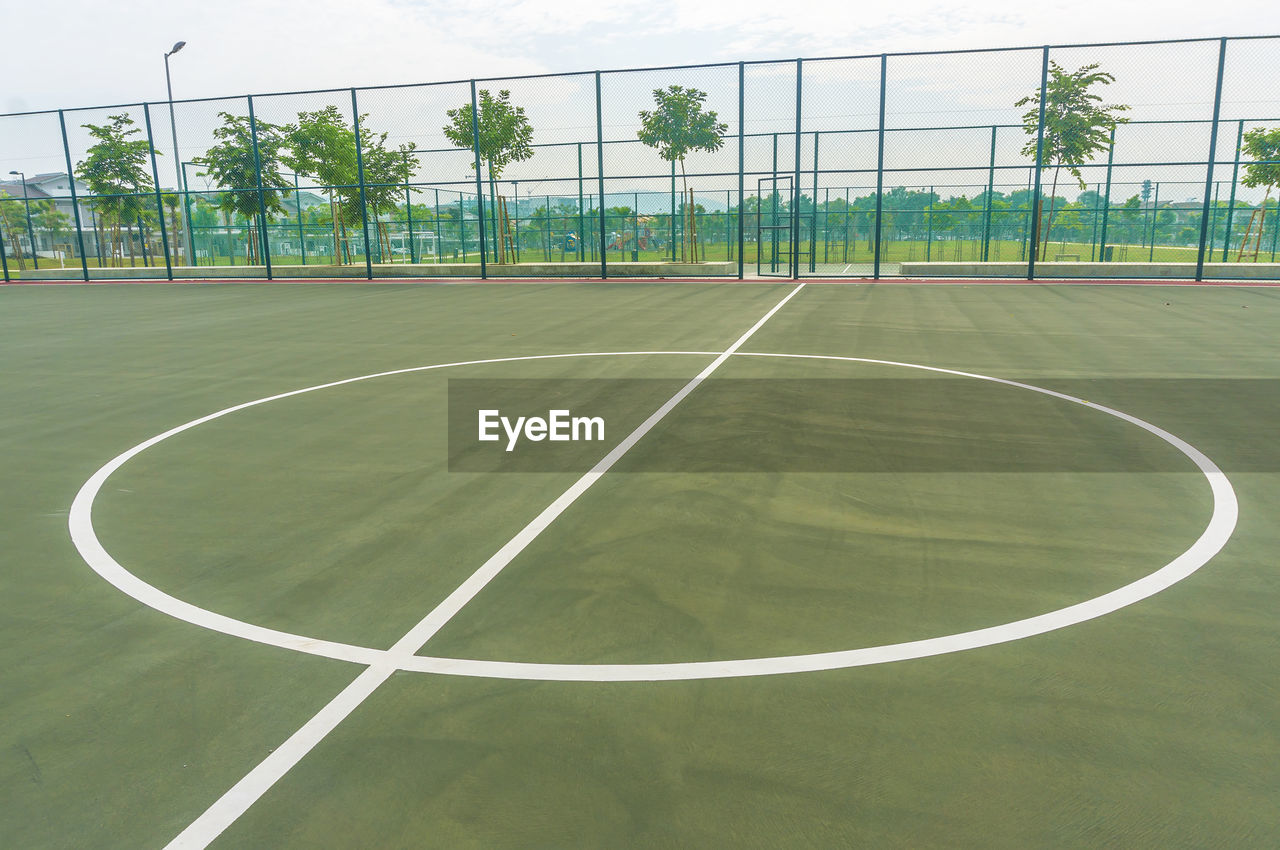 sport, day, playing field, court, soccer field, soccer, no people, tree, basketball - sport, indoors, grass, competitive sport, sky