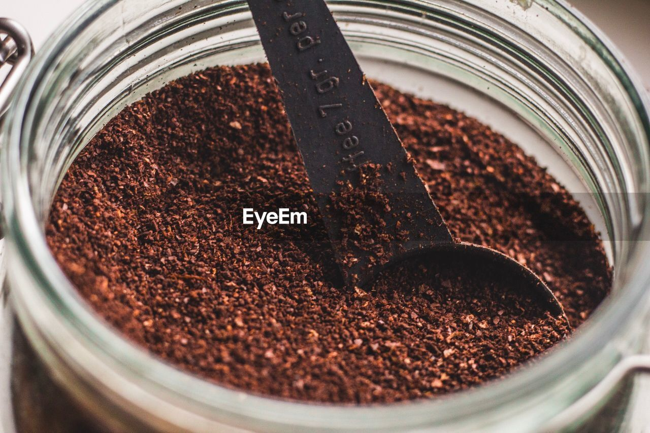 food and drink, container, food, close-up, brown, ground coffee, chocolate, indoors, still life, no people, jar, preparation, sweet food, freshness, ground - culinary, selective focus, spice, metal, high angle view, ingredient, caffeine, chocolate cake, temptation