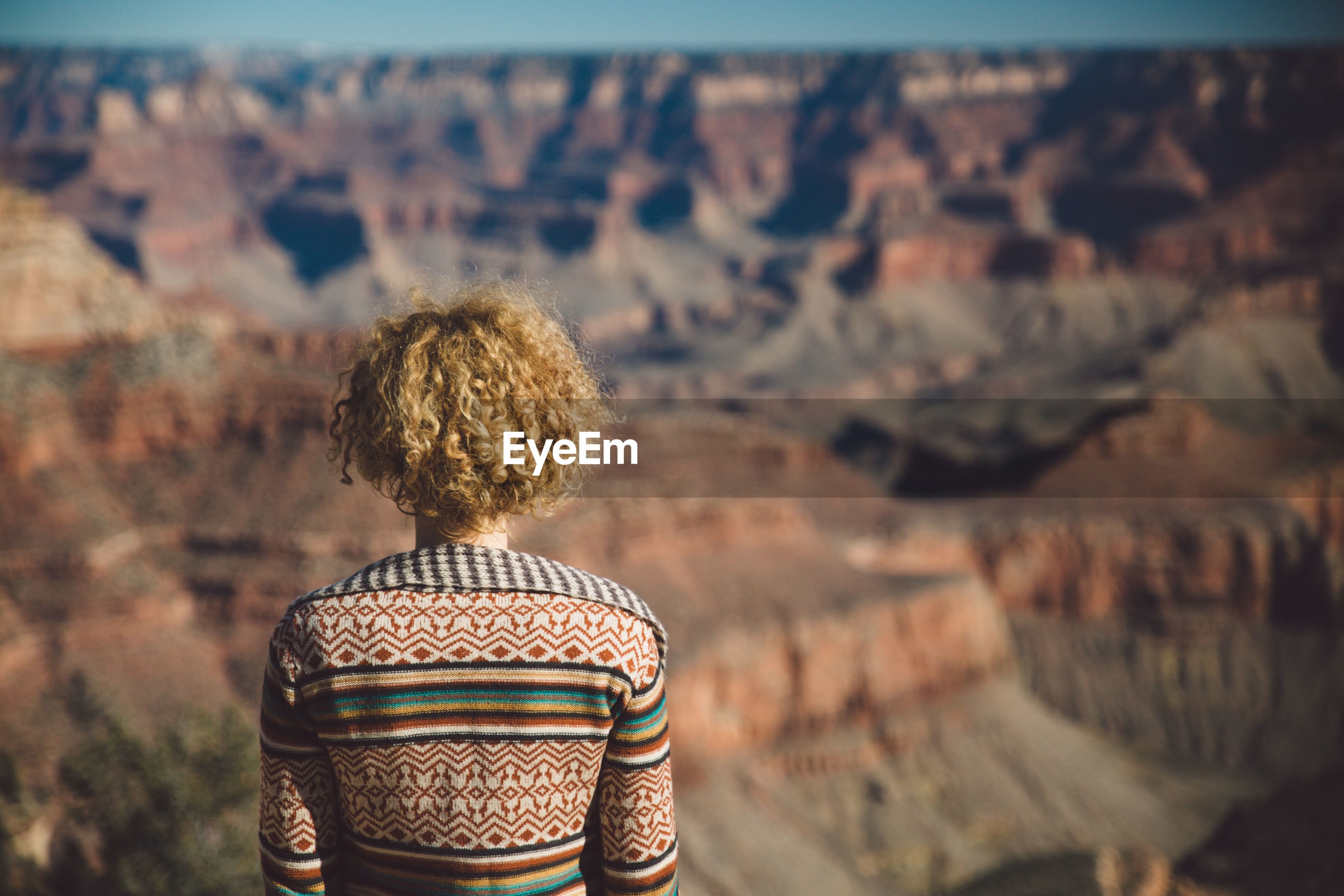 Rear view of woman looking at canyon
