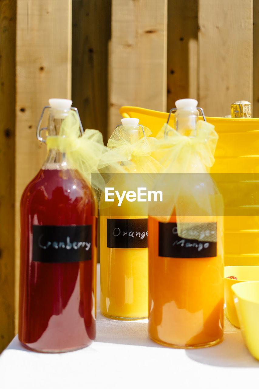 Close-Up Of Bottled Juice