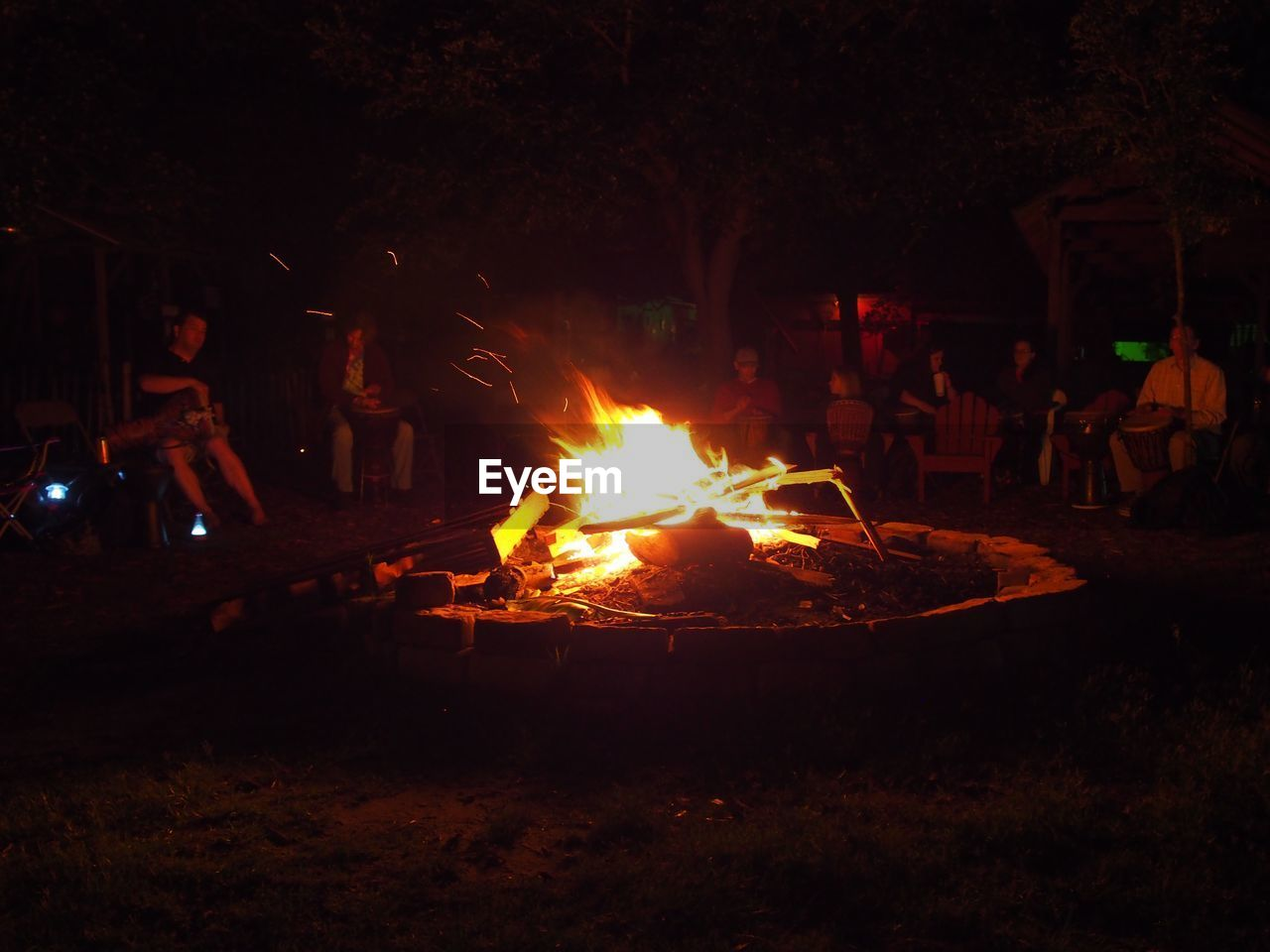 burning, flame, night, campfire, heat - temperature, camping, bonfire, outdoors, real people, men, nature, people