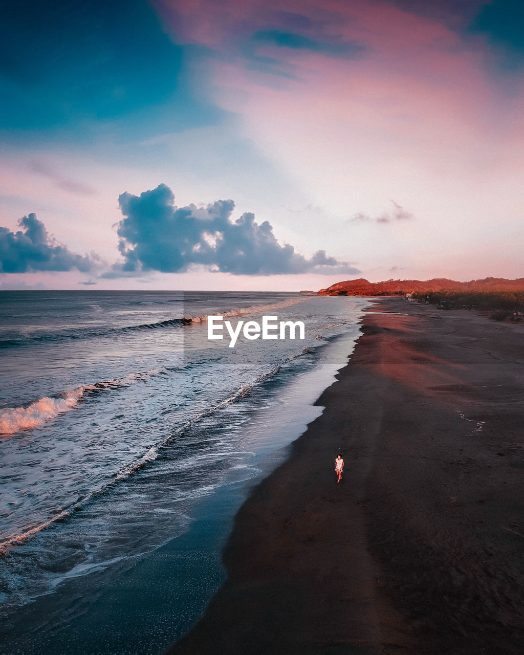 water, sea, land, sky, beach, cloud - sky, beauty in nature, sunset, scenics - nature, nature, wave, people, sport, surfing, lifestyles, motion, real people, leisure activity, outdoors, horizon over water, power in nature