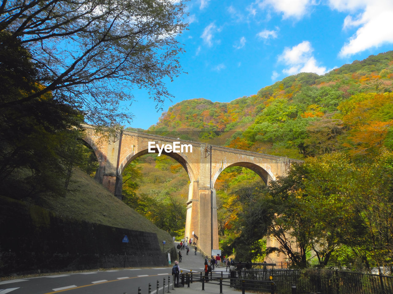 tree, transportation, plant, sky, bridge, bridge - man made structure, nature, built structure, arch, architecture, connection, day, cloud - sky, mountain, arch bridge, road, outdoors, travel, incidental people, beauty in nature
