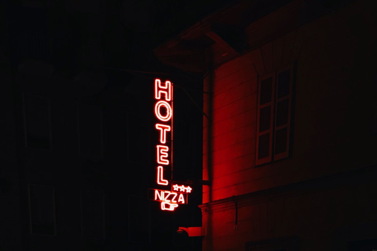 illuminated, night, neon, red, text, no people, outdoors, building exterior, architecture, sky