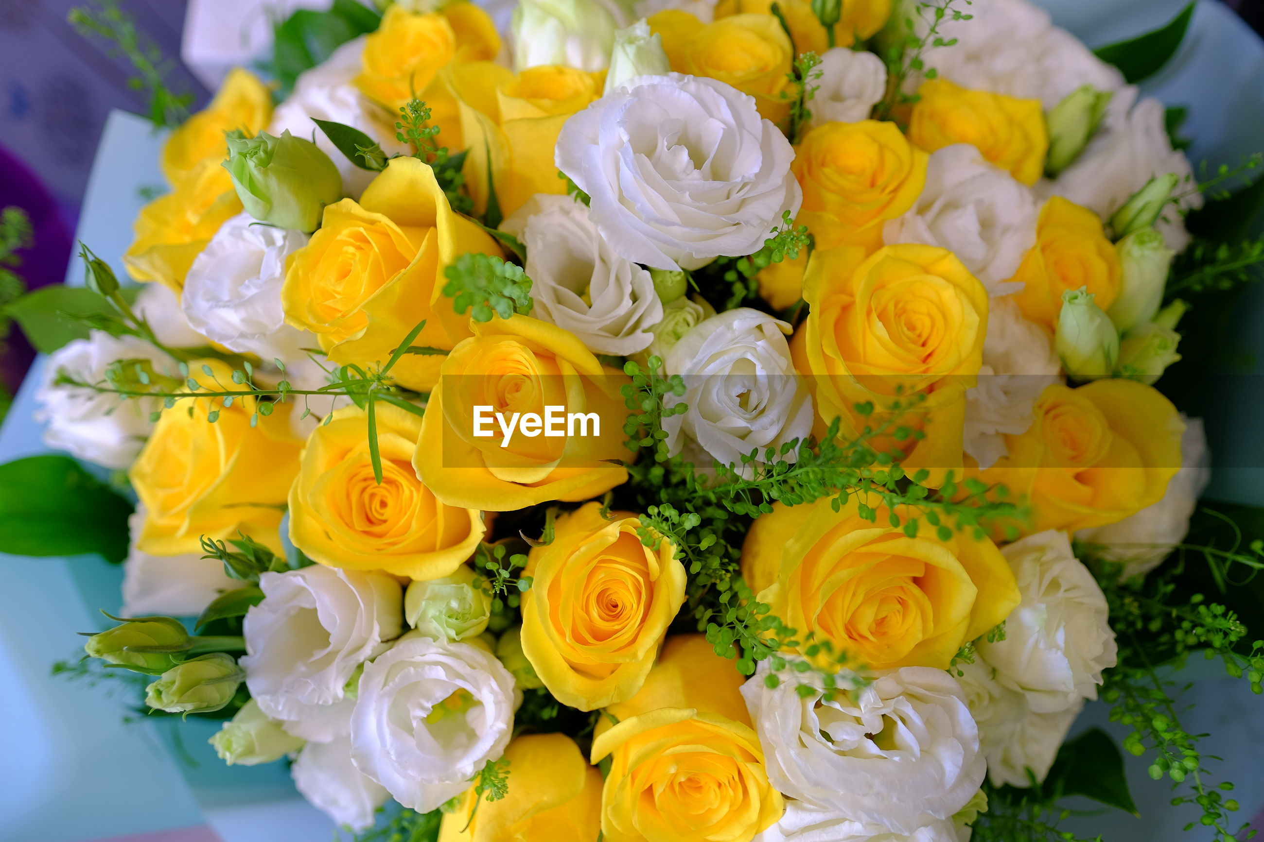 CLOSE-UP OF YELLOW ROSES ON BOUQUET