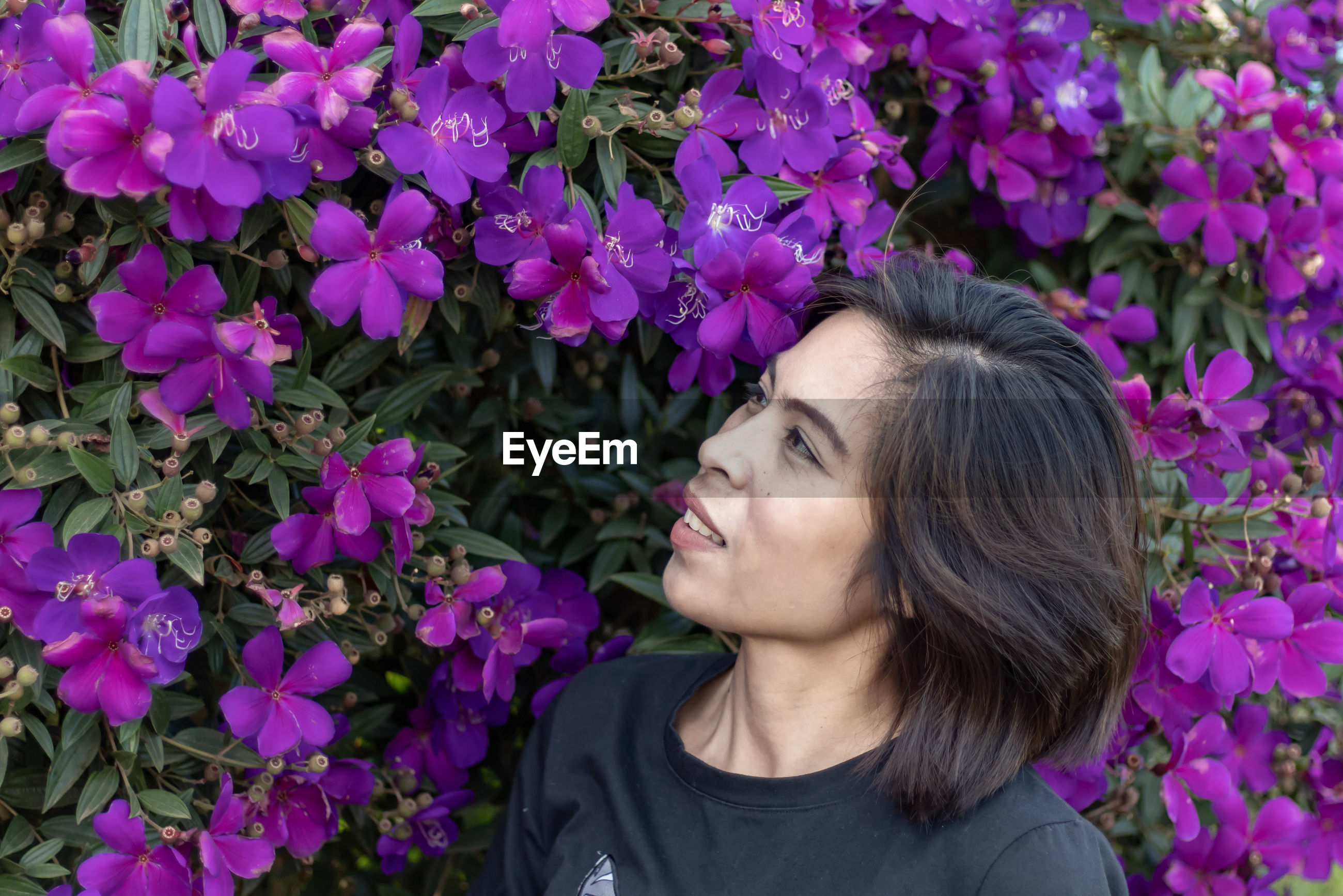 Close-up of woman looking at purple flowers