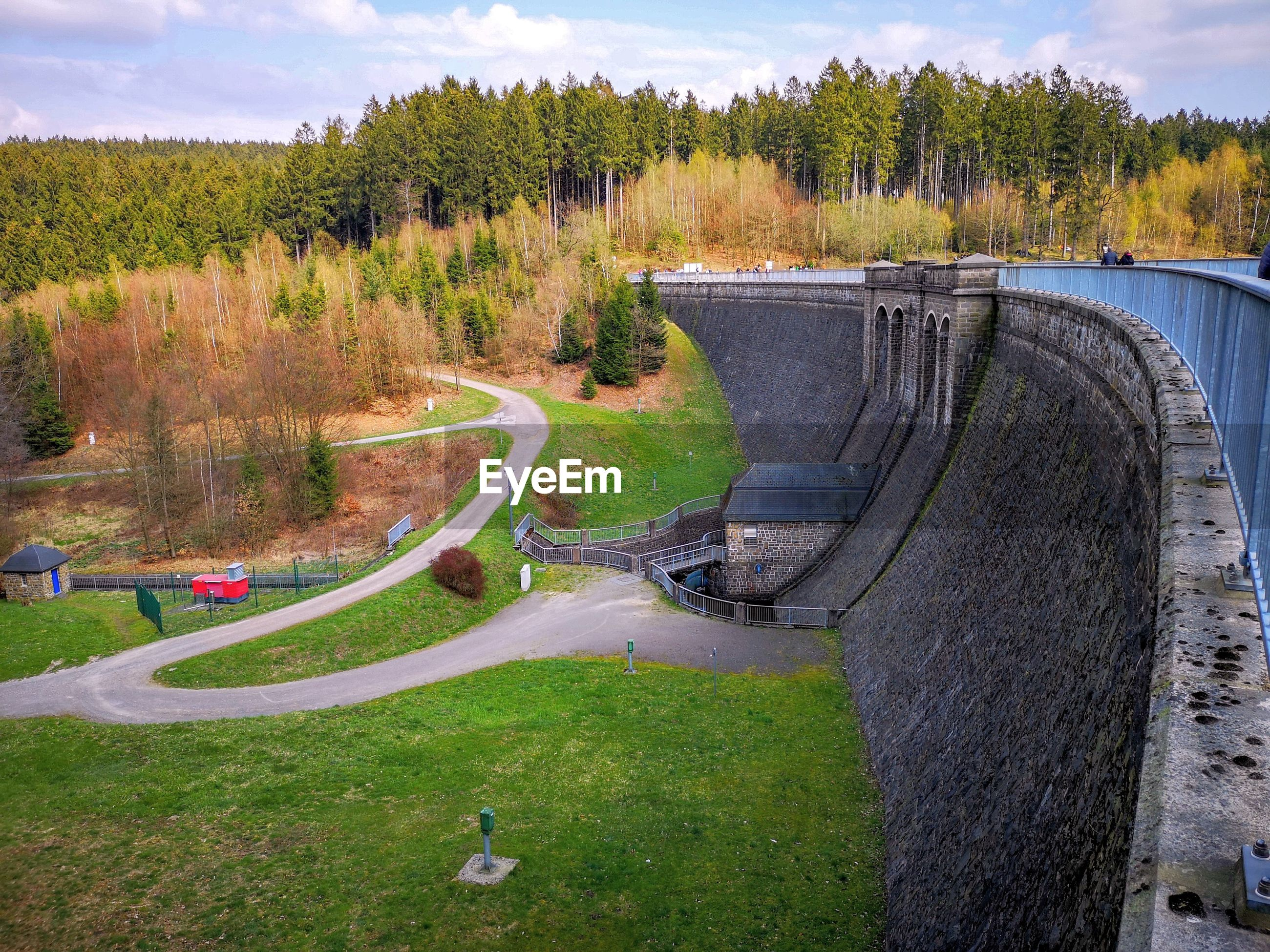 High angle view of dam on landscape