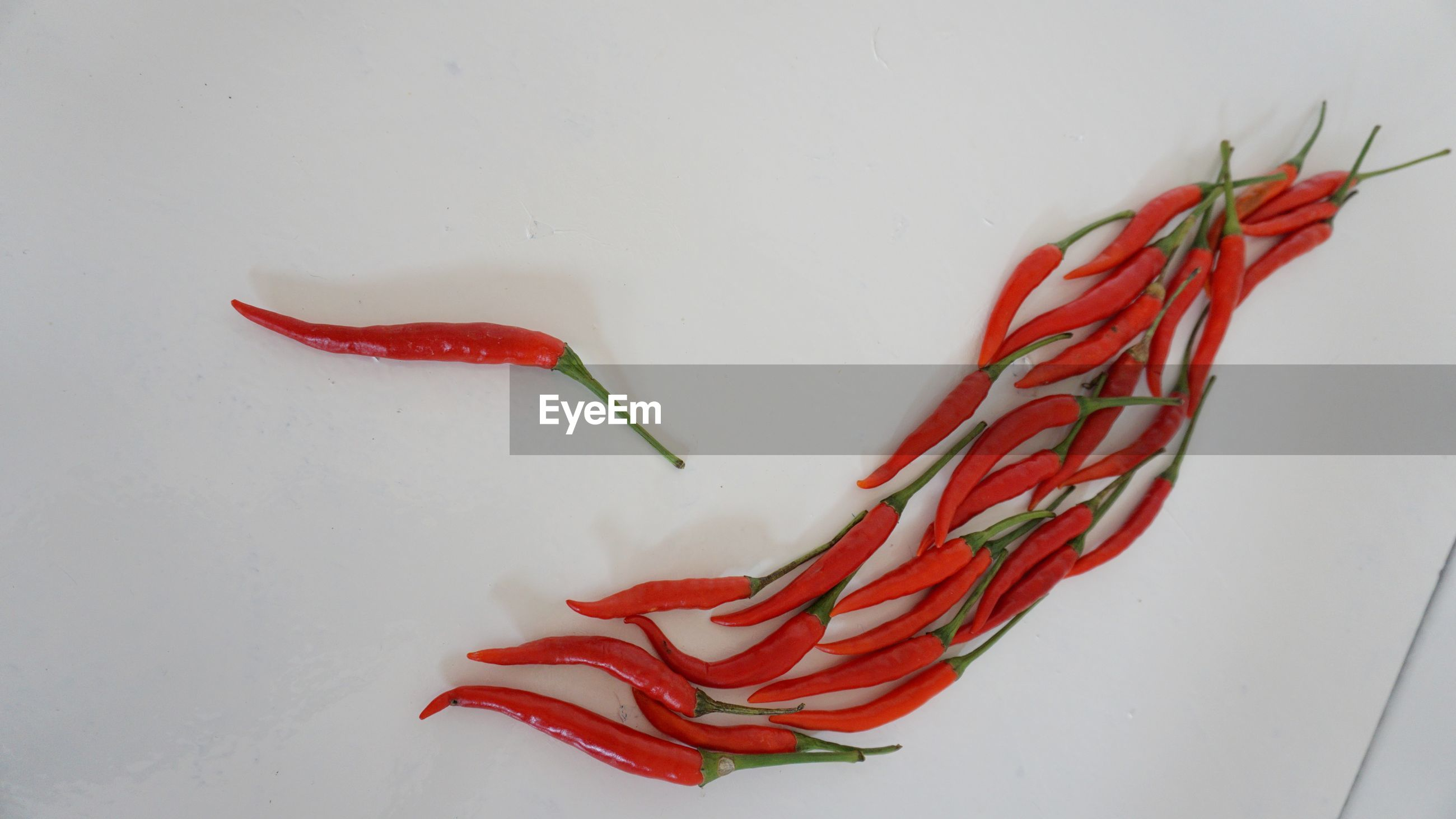 HIGH ANGLE VIEW OF RED CHILI PEPPERS ON WHITE BACKGROUND