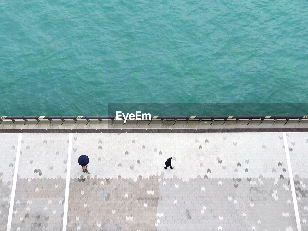 High angle view of people on promenade