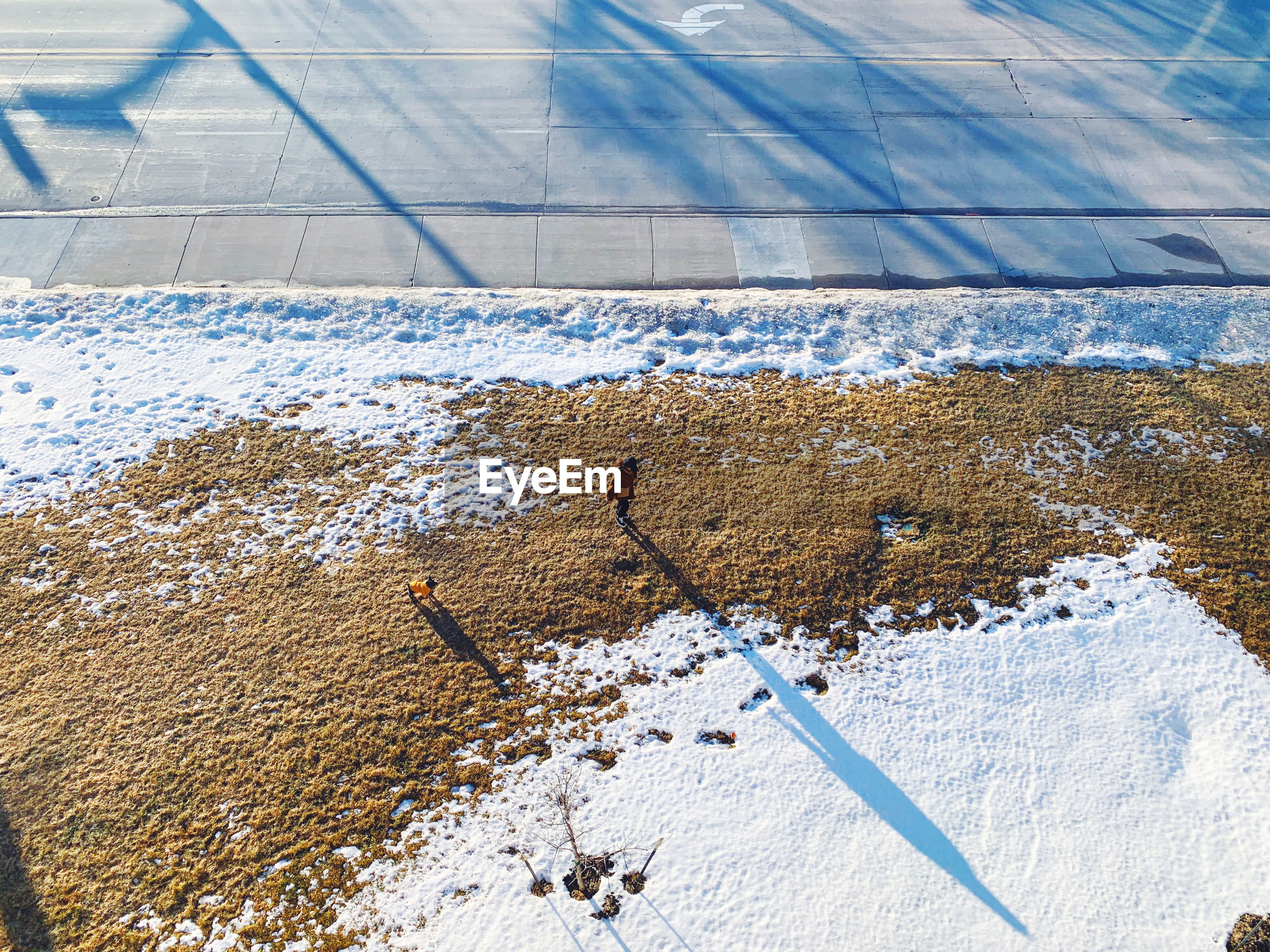 High angle view of snow covered field