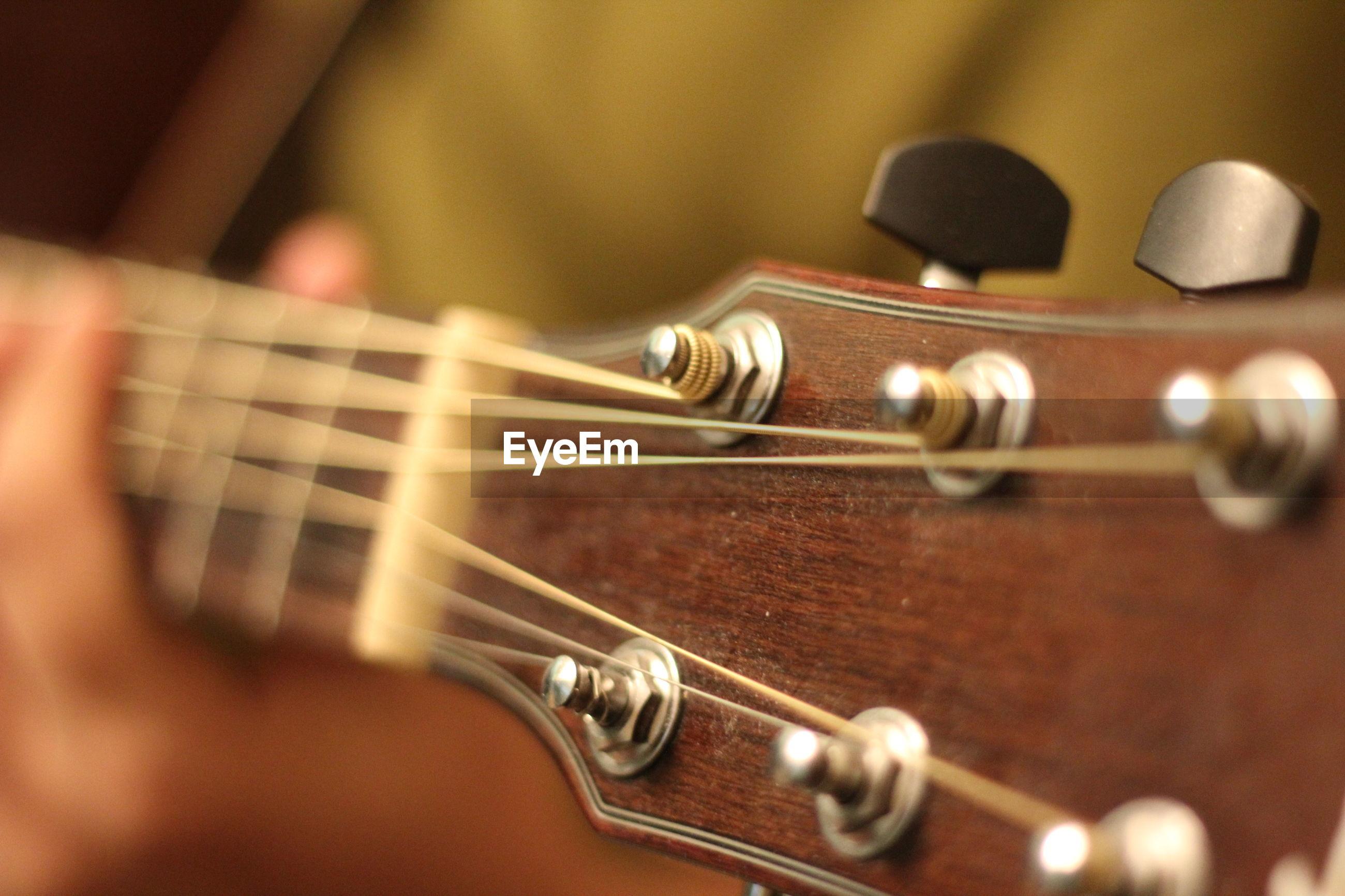 Close-up of guitar headstock