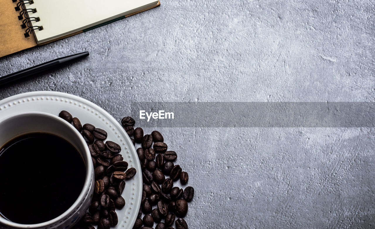 food and drink, coffee, cup, drink, coffee - drink, coffee cup, mug, directly above, table, indoors, still life, refreshment, food, freshness, black coffee, no people, high angle view, brown, close-up, hot drink, non-alcoholic beverage, caffeine, crockery