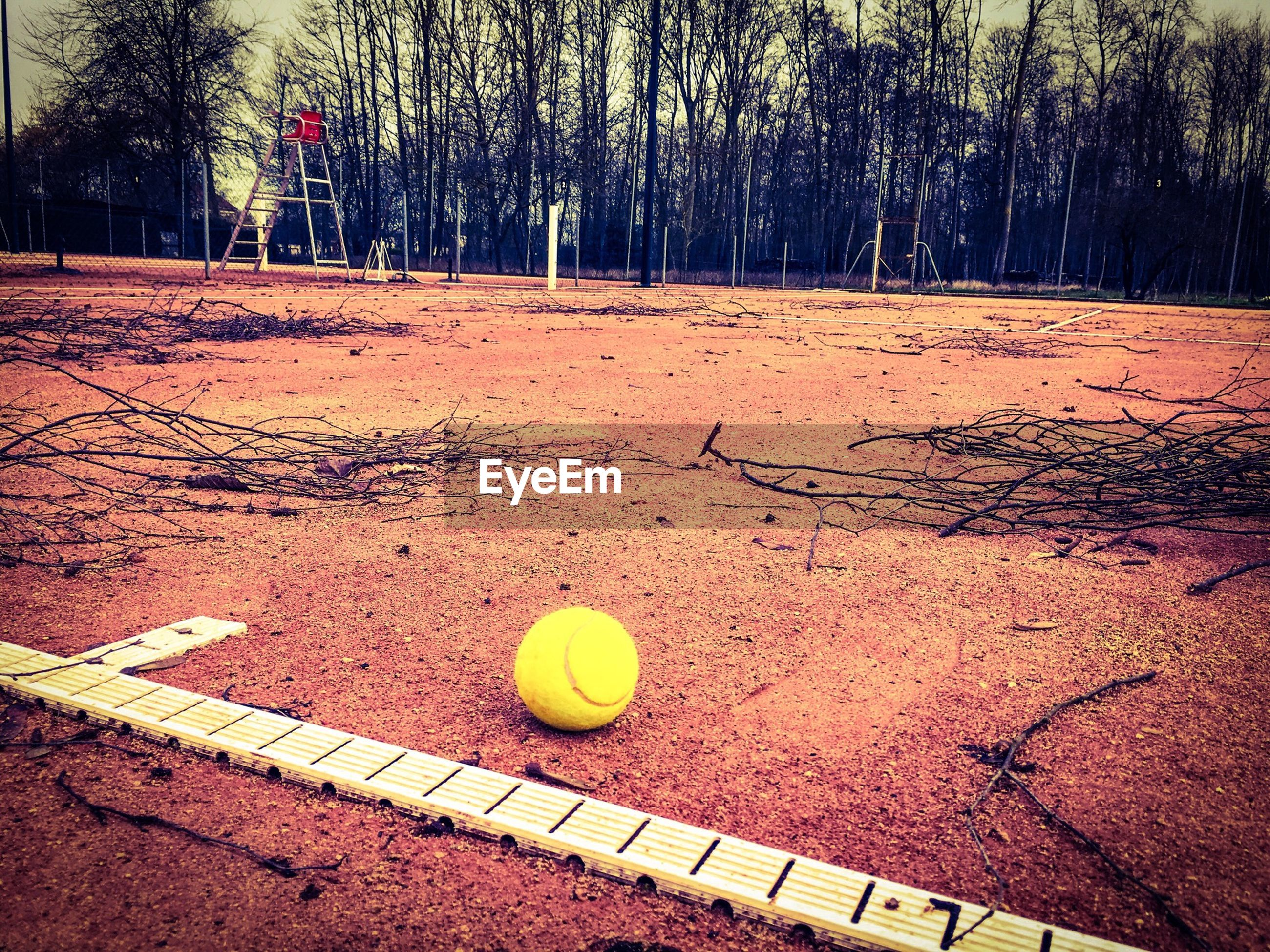 High angle view of tennis ball on field